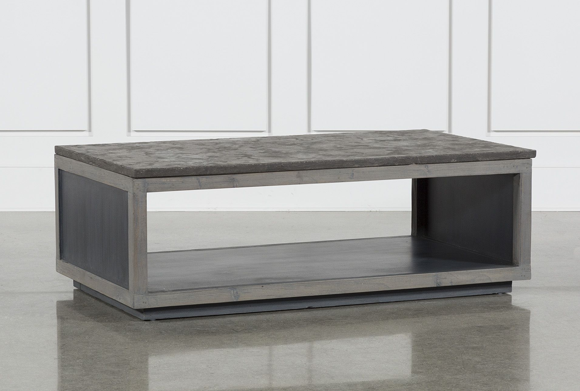 Recycled Pine Stone Coffee Table, Brown | Stone Coffee Table And throughout Charcoal Finish 4-Door Jumbo Sideboards (Image 24 of 30)