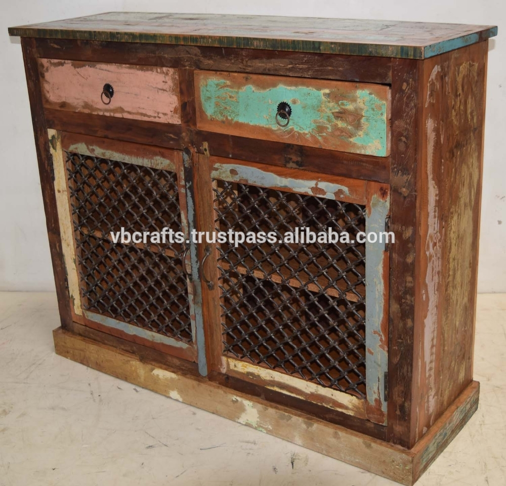 Recycled Scrap Color Wood Iron Jali Panel Sideboard - Buy Reclaimed within Corrugated Metal Sideboards (Image 23 of 30)