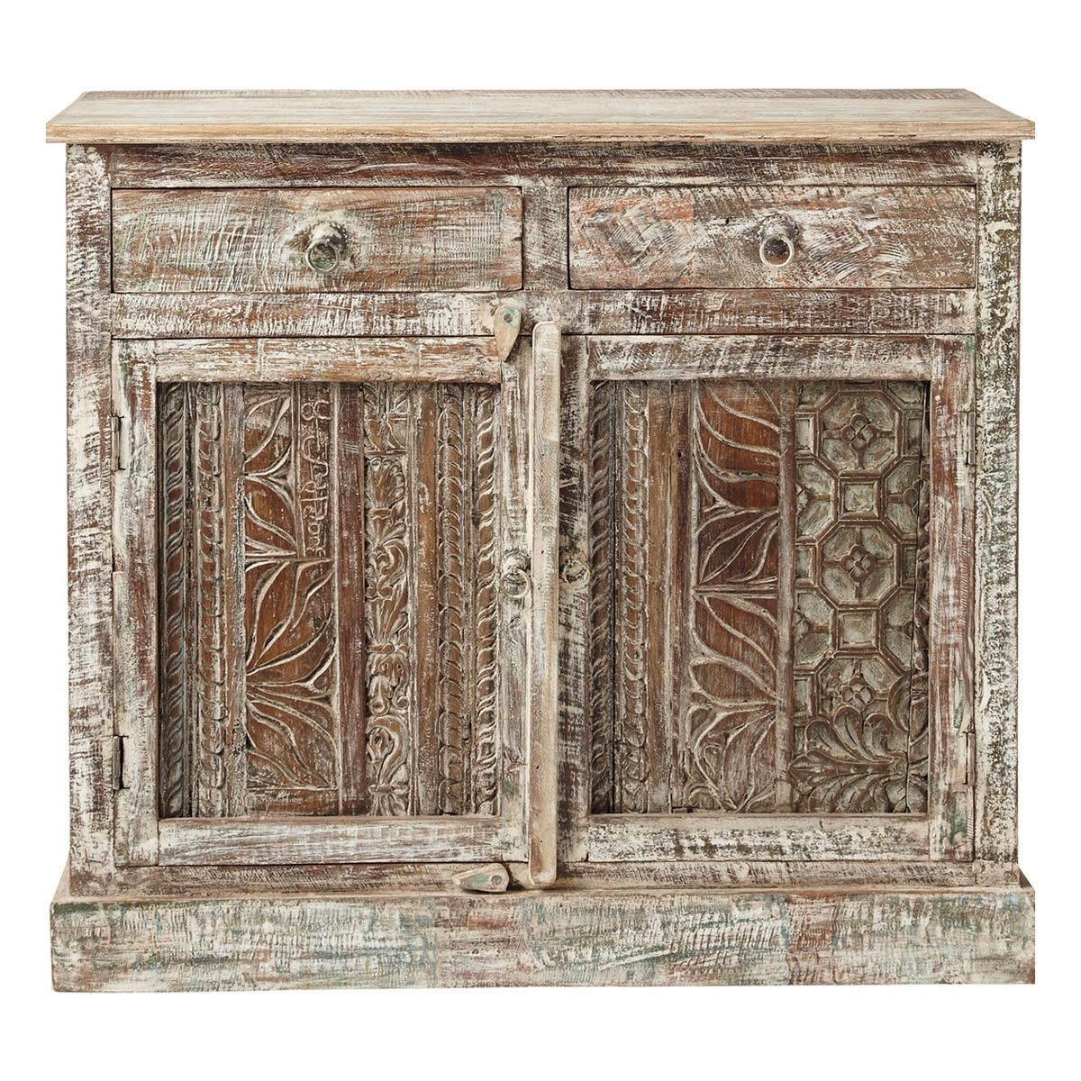 Recycled Wood Carved Indian Sideboard W 95Cm Karma | Maisons Du with regard to Helms Sideboards (Image 24 of 30)