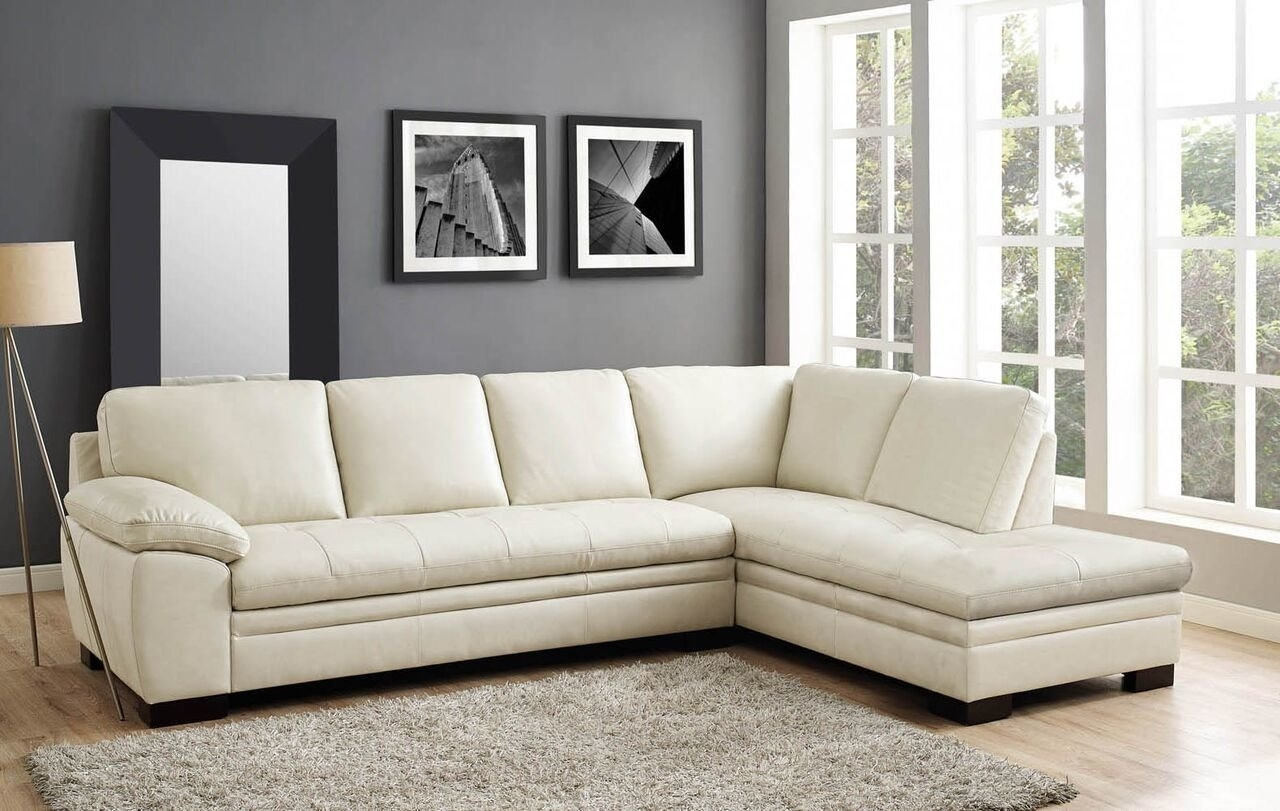 Red Barrel Studio Woodland Leather Sectional & Reviews | Wayfair intended for Karen 3 Piece Sectionals (Image 20 of 30)