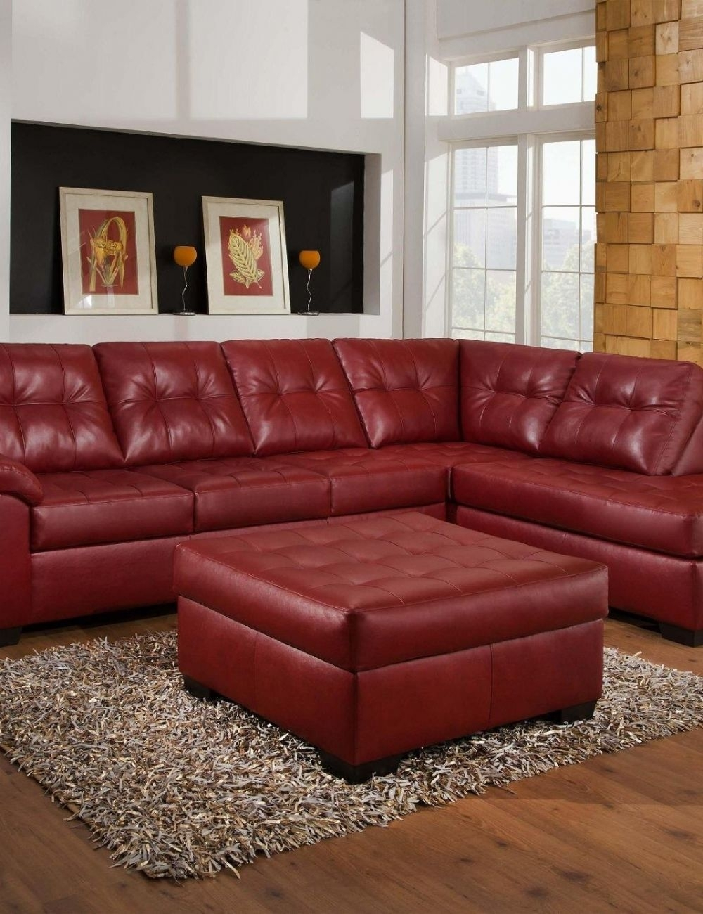 Red Leather Sectional Sofa With Ottoman | Houston Apartment throughout Nico Grey Sectionals With Left Facing Storage Chaise (Image 24 of 30)