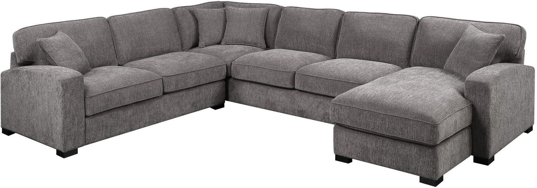 Repose Charcoal 3 Piece Sectional From Emerald Home | Coleman Furniture throughout Harper Foam 3 Piece Sectionals With Raf Chaise (Image 18 of 30)