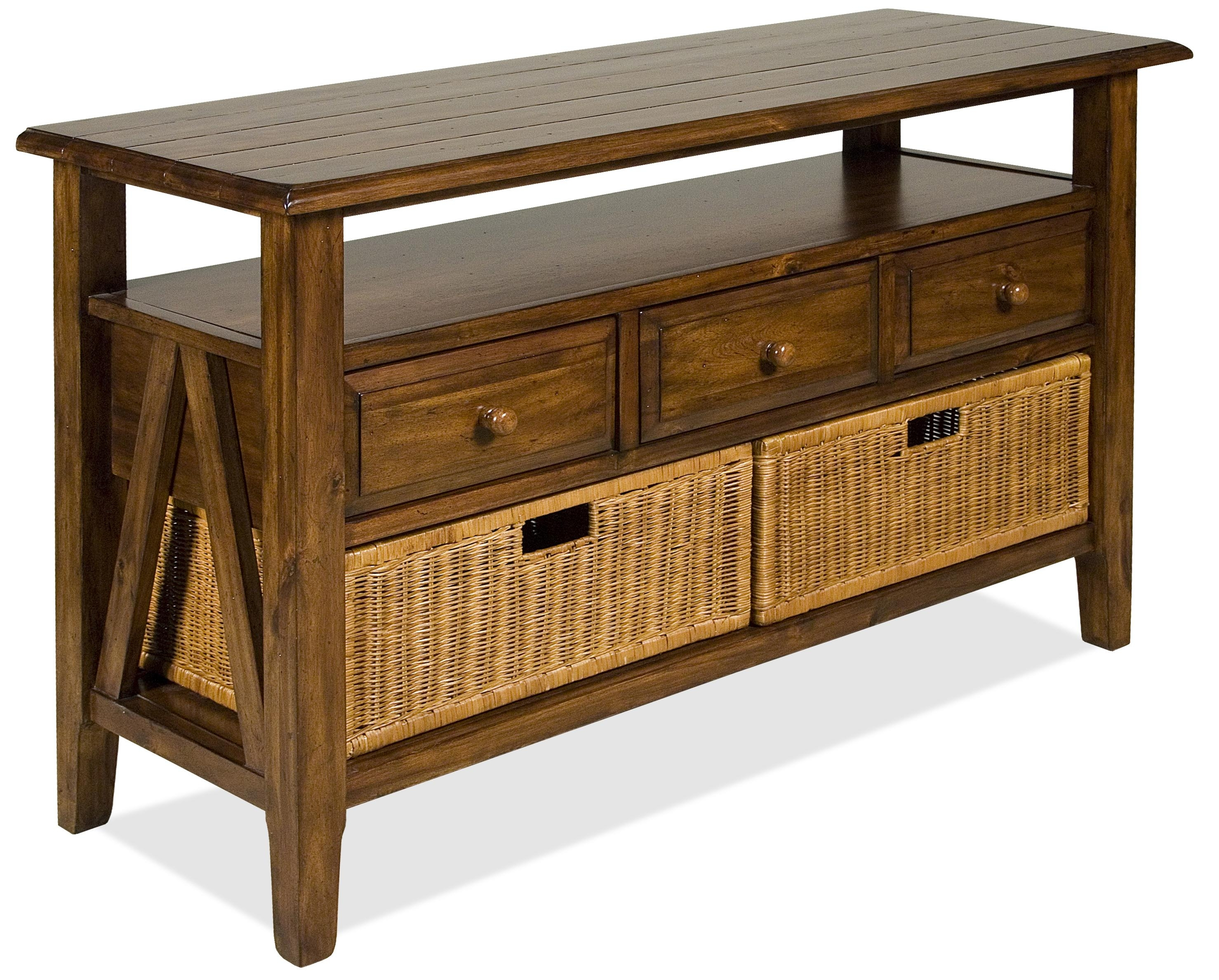 Riverside Furniture Claremont 3 Drawer Console Table With Storage with regard to Calhoun Sideboards (Image 18 of 30)
