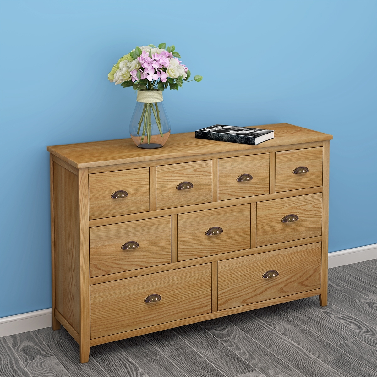 Robust Oak Sideboard Furniture Drawers 9 Drawer Chest Light Oak inside Burnt Oak Wood Sideboards (Image 23 of 30)