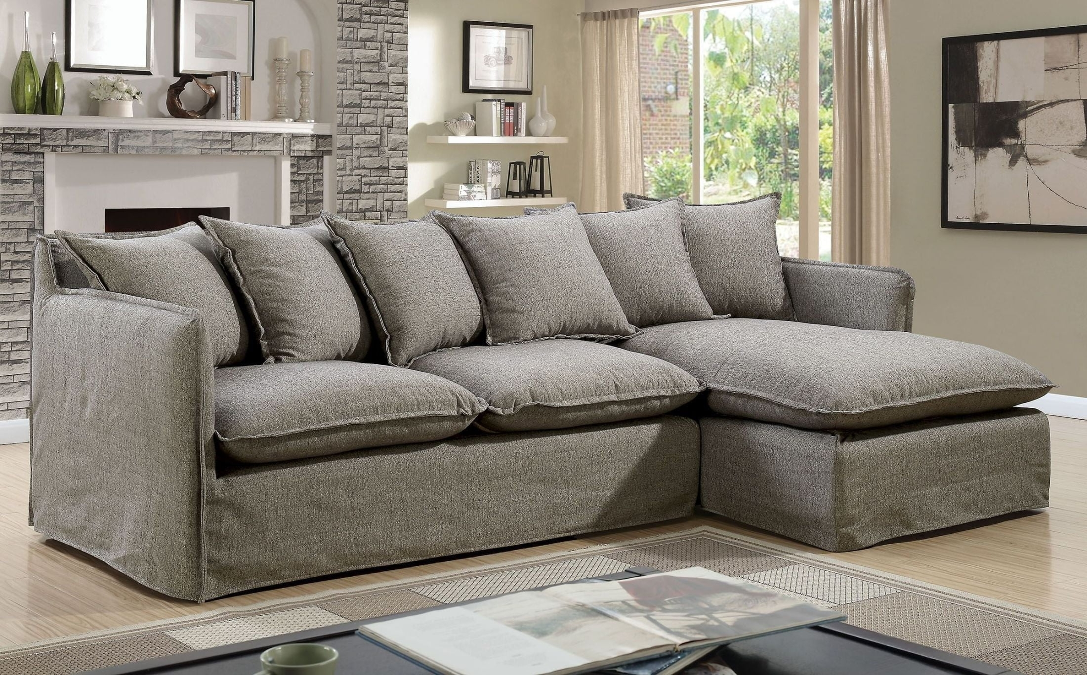 Rosanna Ii Gray Sectional From Furniture Of America | Coleman Furniture pertaining to Lucy Grey 2 Piece Sectionals With Laf Chaise (Image 25 of 30)