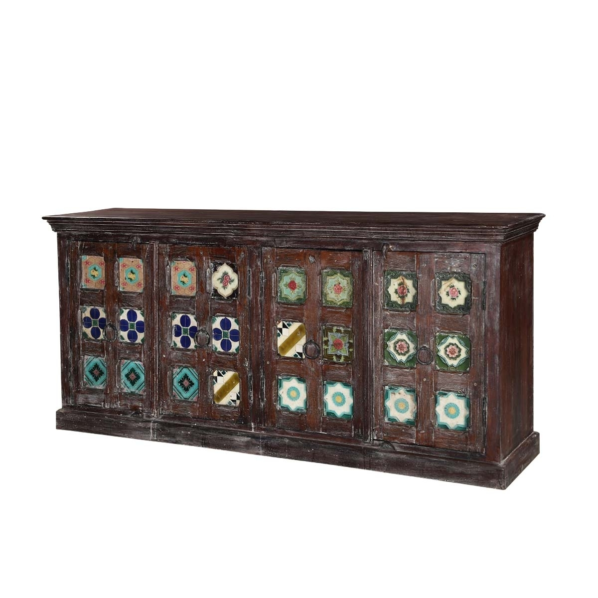 Rosen Tile Medallion Reclaimed Wood 4 Door Buffet Sideboard Cabinet with Vintage Finish 4-Door Sideboards (Image 18 of 30)