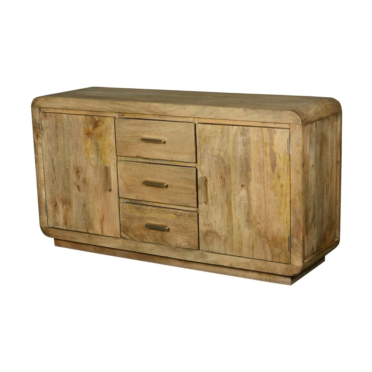 Rounded Corners Mango Wood 2 Door 3 Drawer Buffet for Mango Wood 2-Door/2-Drawer Sideboards (Image 23 of 30)