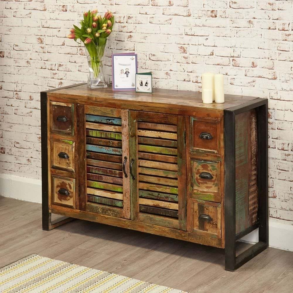 Rustic Industrial Six Drawer Sideboard - Reclaimed Wood | In Oxford with regard to Reclaimed 3 Drawer Icebox Sideboards (Image 22 of 30)