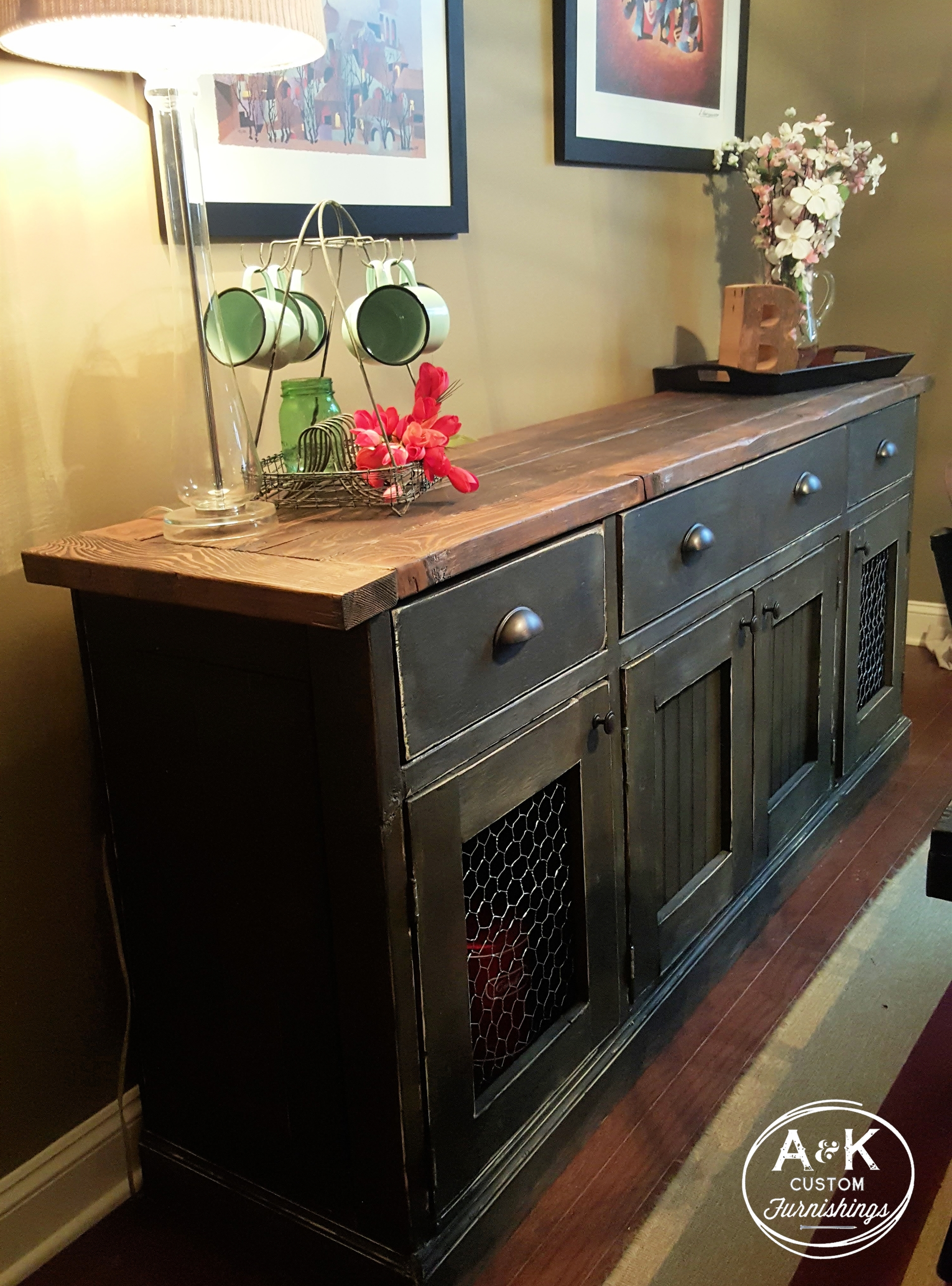Rustic Sideboard-- Chicken Wire Cabinet Doors, Oil Rubbed Bronze Cup regarding Natural Oak Wood 78 Inch Sideboards (Image 17 of 30)