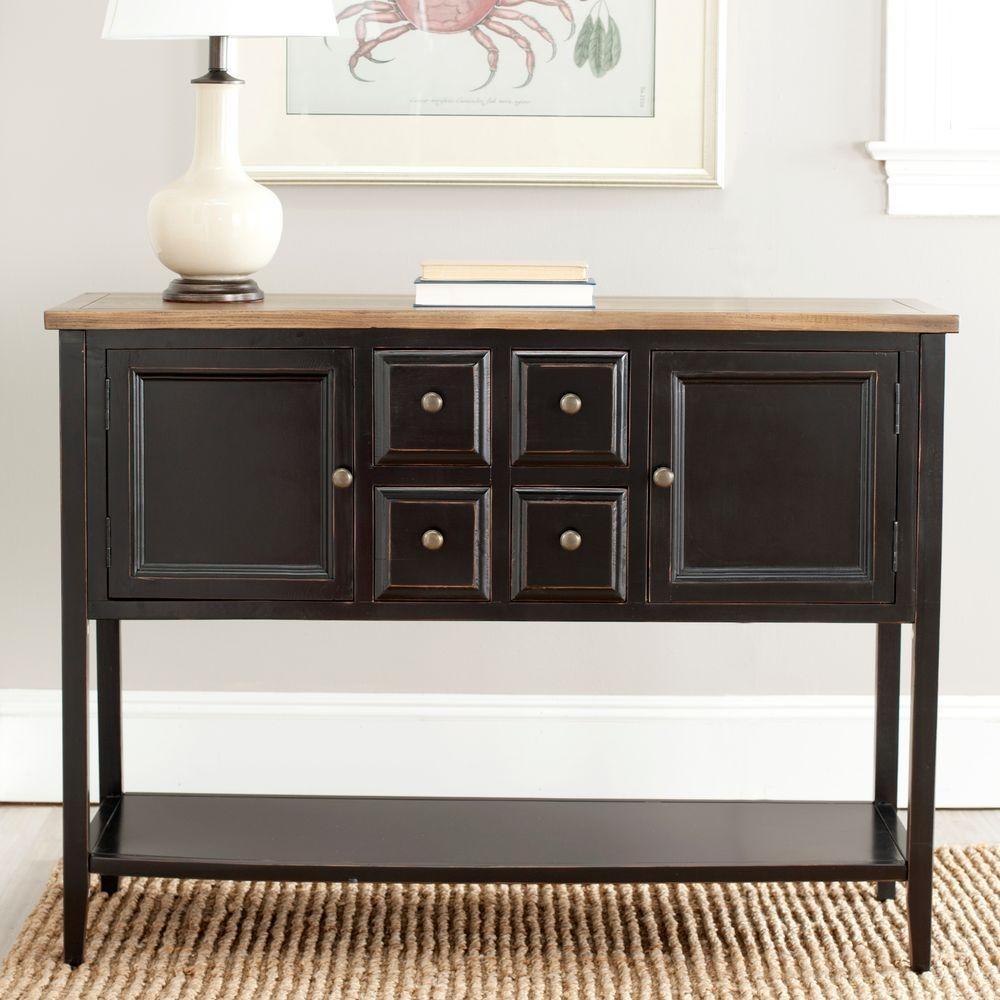 Safavieh Charlotte Black And Oak Buffet With Storage-Amh6517D - The with Antique Walnut Finish 2-Door/4-Drawer Sideboards (Image 21 of 30)