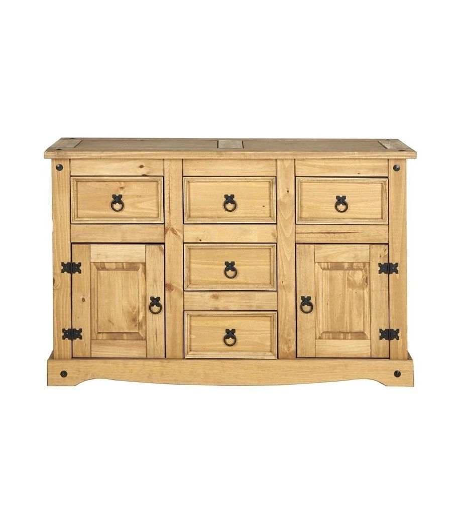 Santana 2 Door 5 Drawer Sideboard Storage Cabinet, Wood, Antique with Antique Walnut Finish 2-Door/4-Drawer Sideboards (Image 22 of 30)