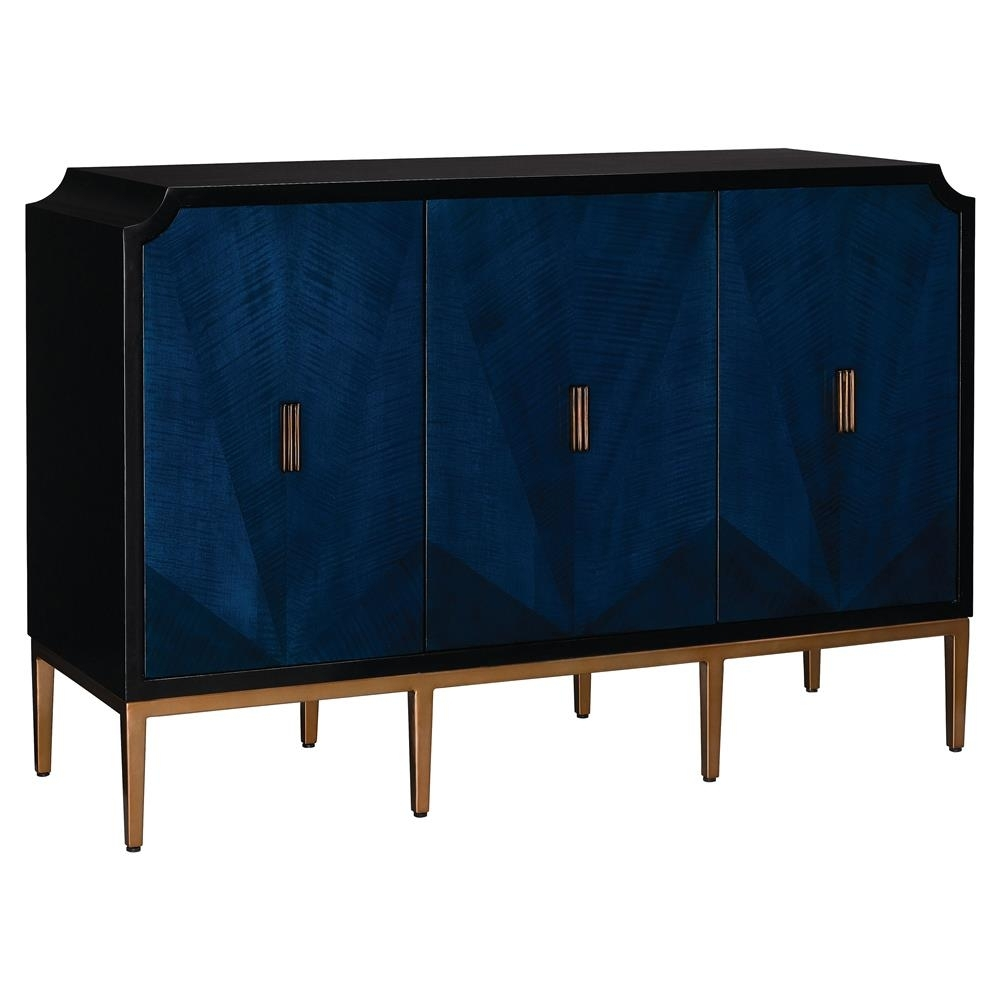 Sapir Modern Classic Blue Gold Black 3 Door Sideboard Cabinet within Black Oak Wood and Wrought Iron Sideboards (Image 21 of 30)