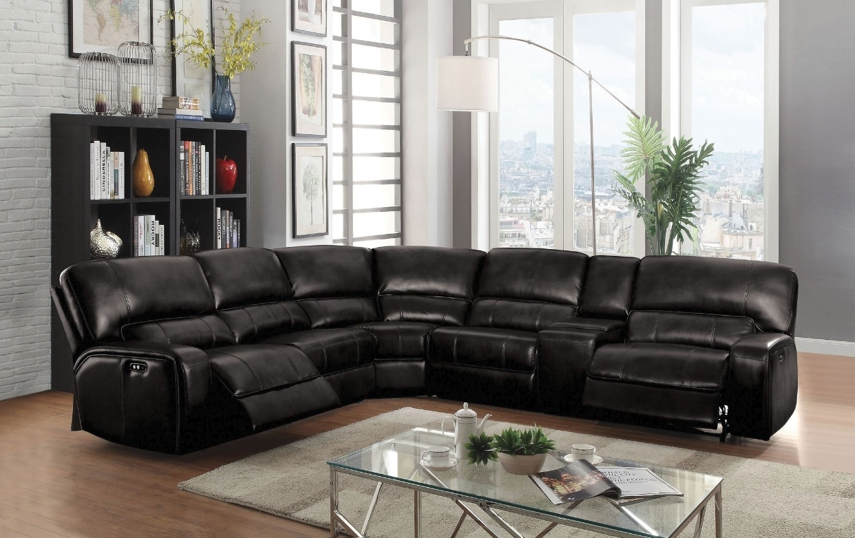 Saul Sectional Sofa With 2 Power Recliners, Black Leather-Aire inside Tess 2 Piece Power Reclining Sectionals With Laf Chaise (Image 6 of 30)