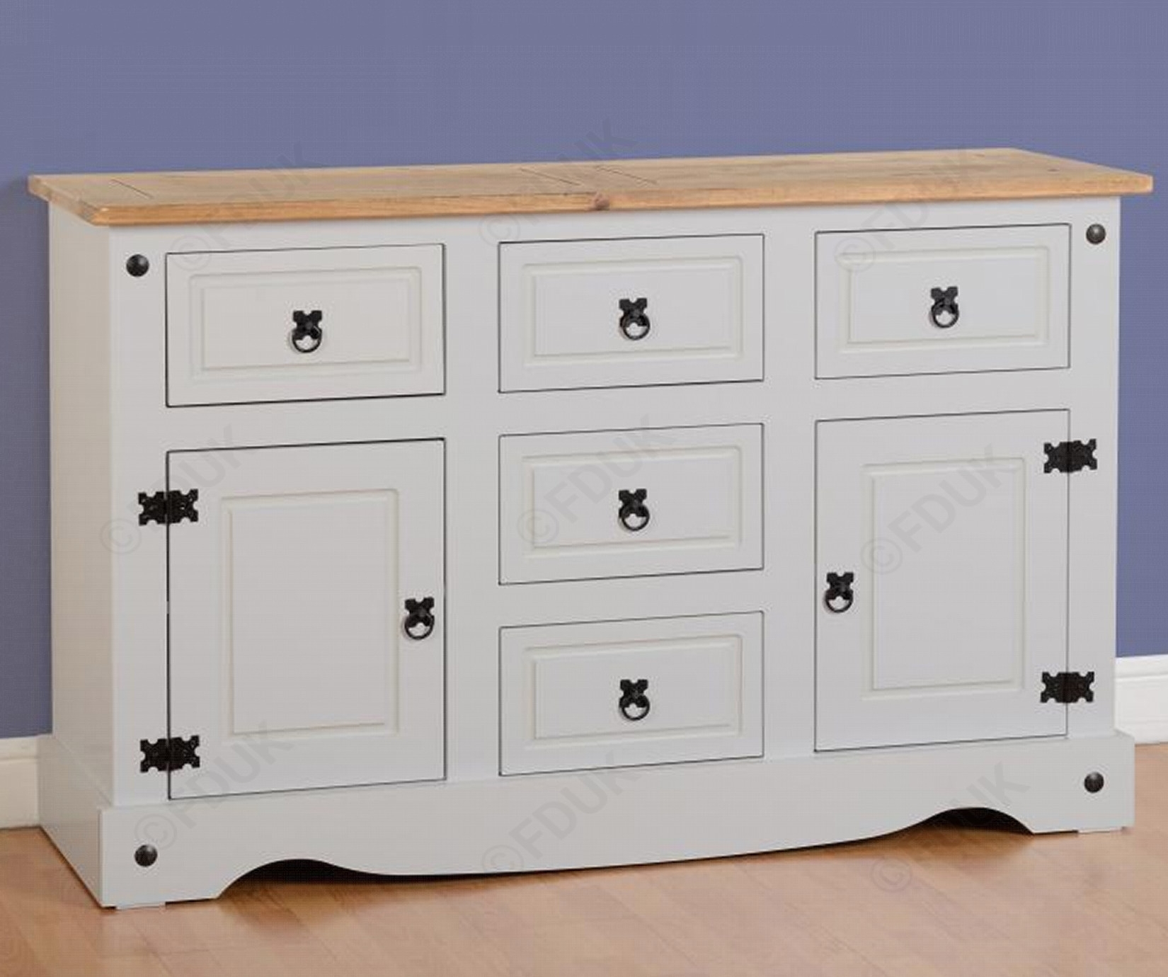 Seconique | Corona Grey 2 Door 5 Drawer Sideboard within Antique White Distressed 3-Drawer/2-Door Sideboards (Image 24 of 30)