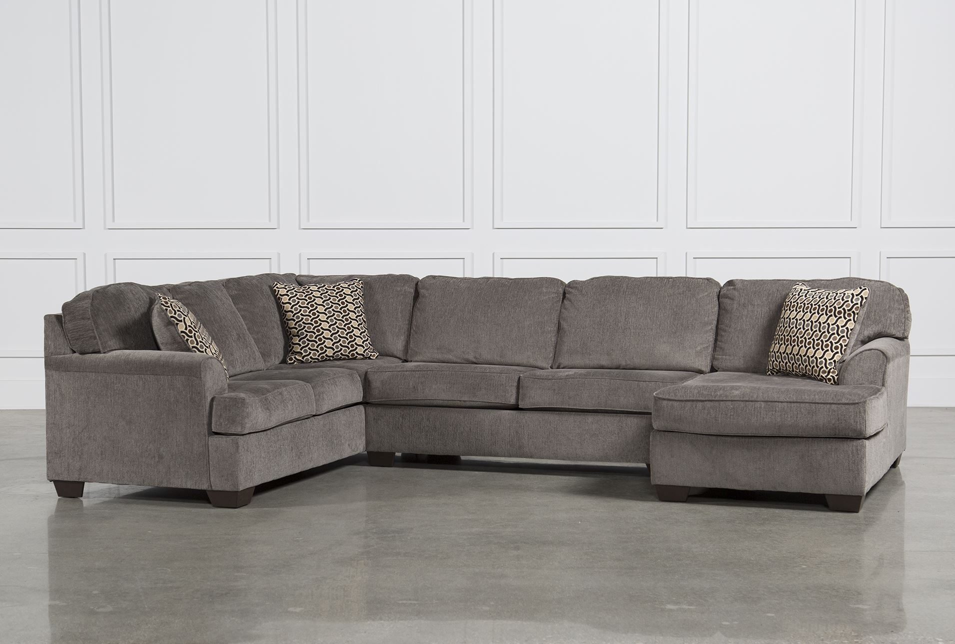 Sectional Couches Living Spaces Aurora 2 Piece Sectional Living pertaining to Aquarius Dark Grey 2 Piece Sectionals With Raf Chaise (Image 21 of 30)