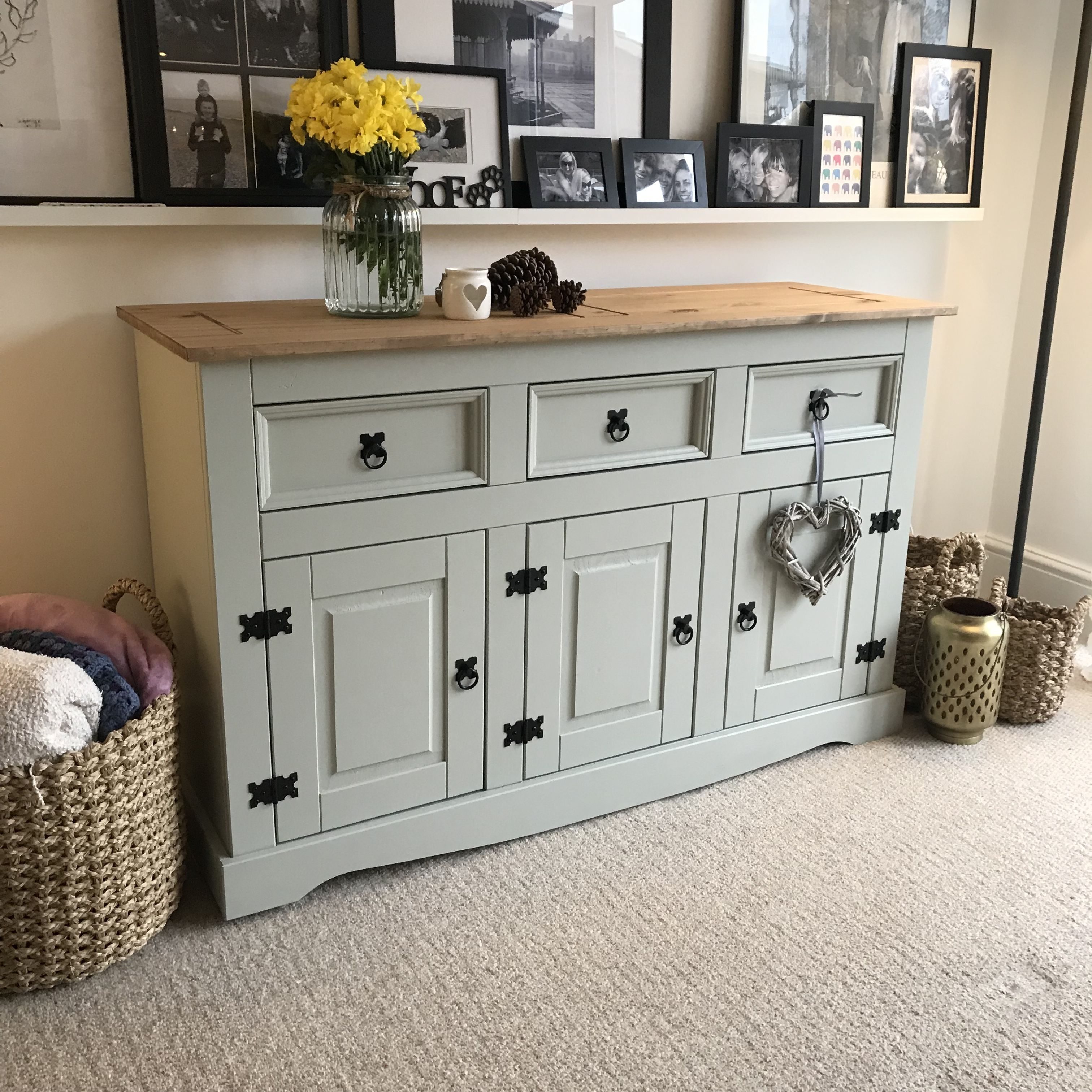 Shabby Chic Large Sideboard In Farrow & Ball French Grey | Shabby intended for Rossi Large Sideboards (Image 21 of 30)