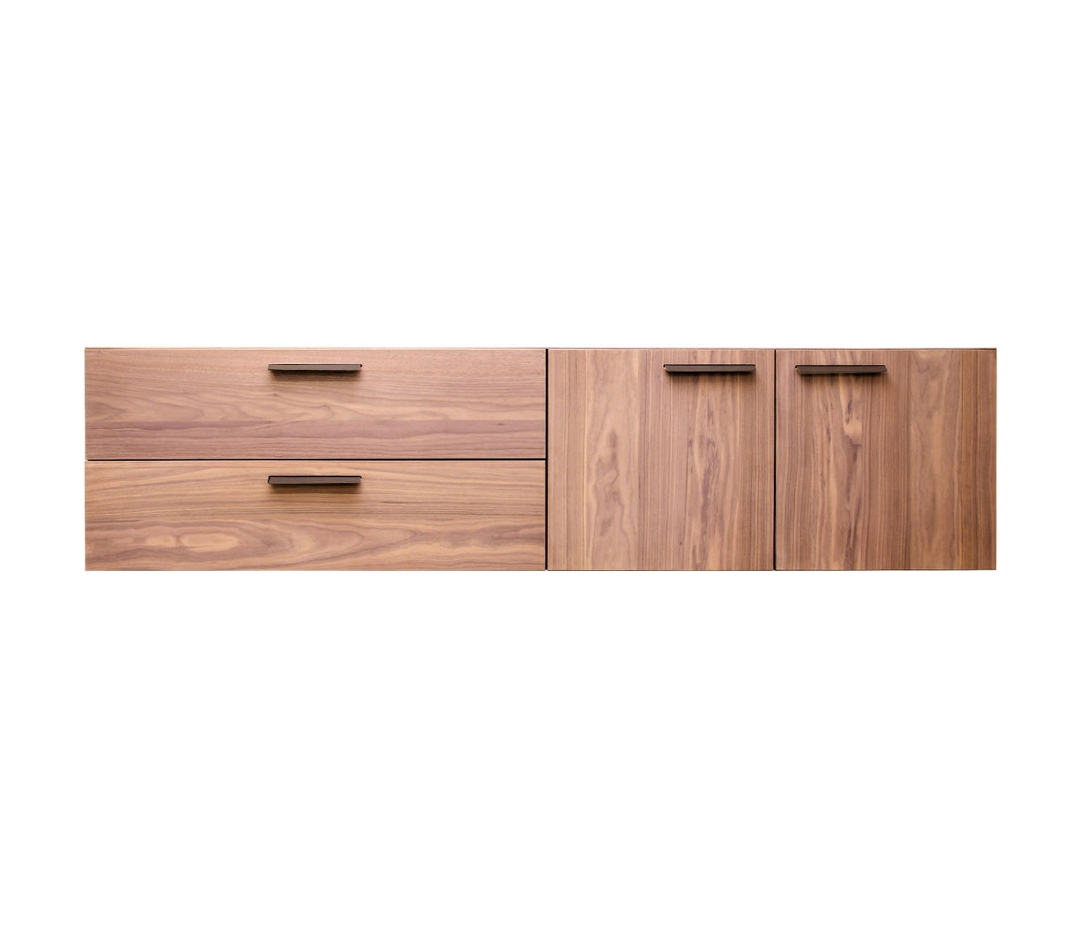 Shale 2 Door - 2 Drawer Wall-Mounted Cabinet - Sideboards From Blu in Walnut Finish 2-Door/3-Drawer Sideboards (Image 22 of 30)