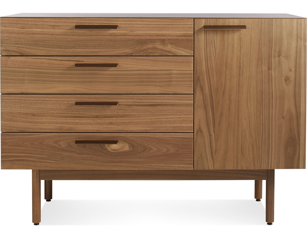 Shale 4 Drawer / 1 Door Credenza - Hivemodern within Girard 4 Door Sideboards (Image 21 of 30)