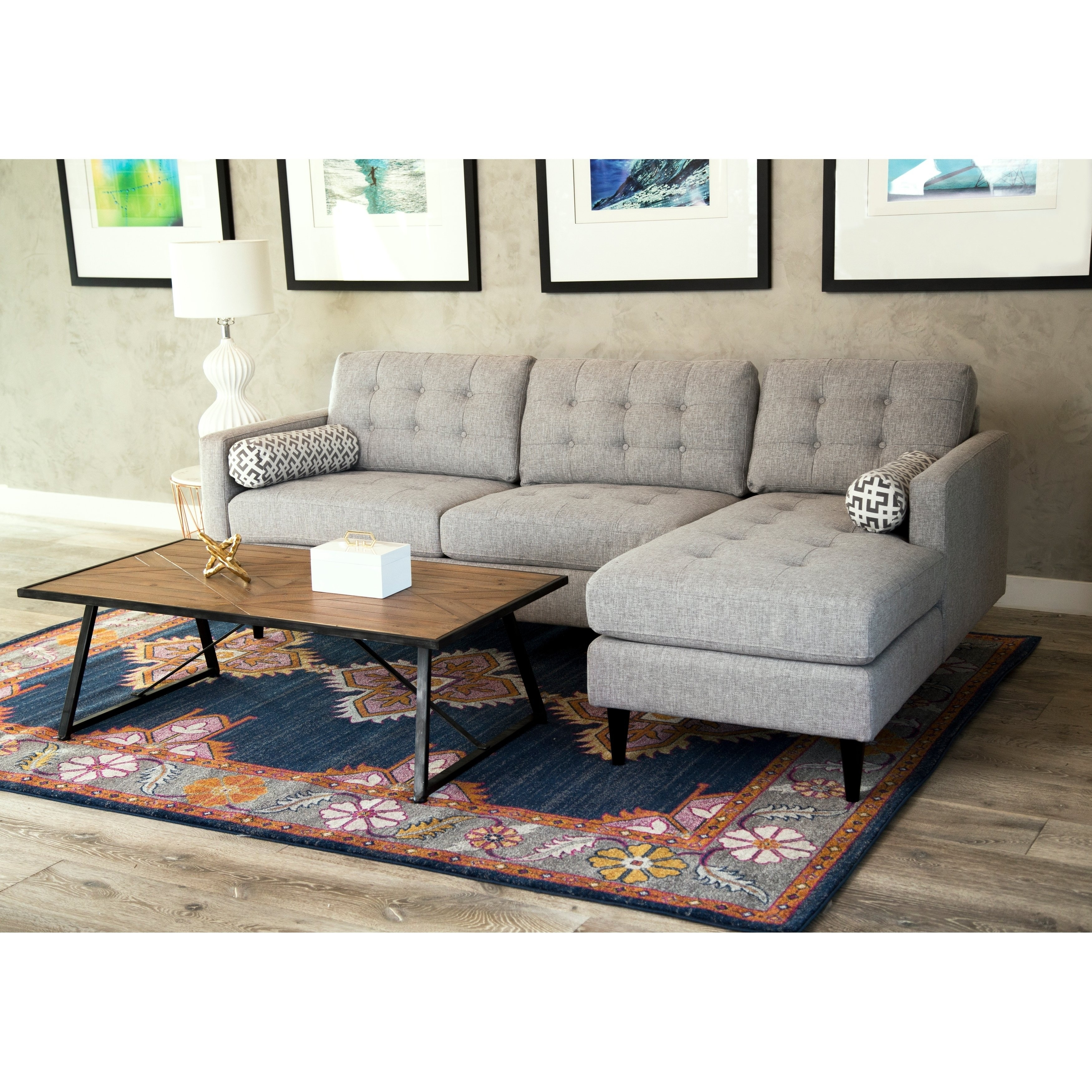 Shop Abbyson Aiden Grey Mid Century Tufted Sectional - On Sale with regard to Kristen Silver Grey 6 Piece Power Reclining Sectionals (Image 23 of 30)