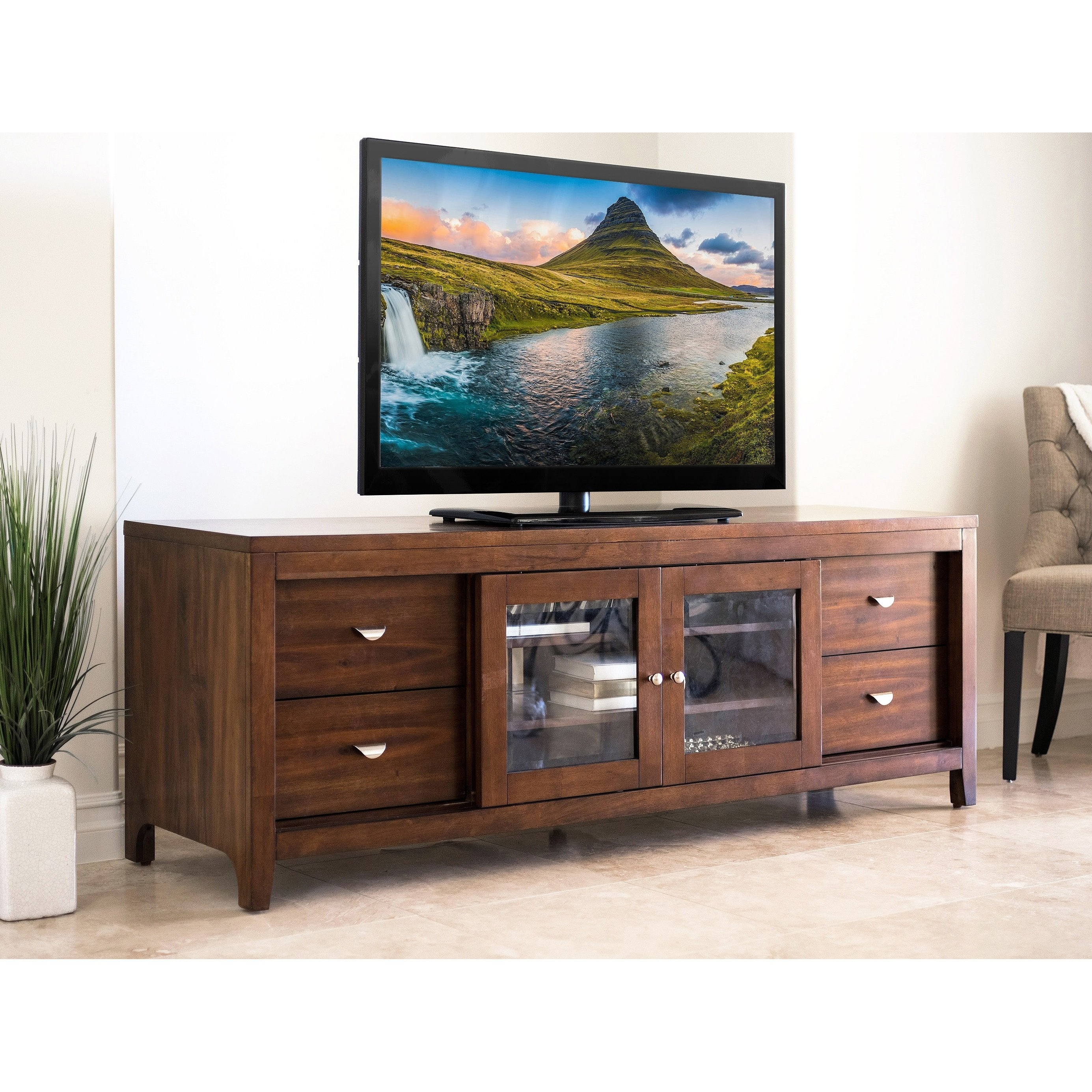 Shop Abbyson Clarkston Solid Wood 72-Inch Tv Console - On Sale throughout Brown Wood 72 Inch Sideboards (Image 22 of 30)