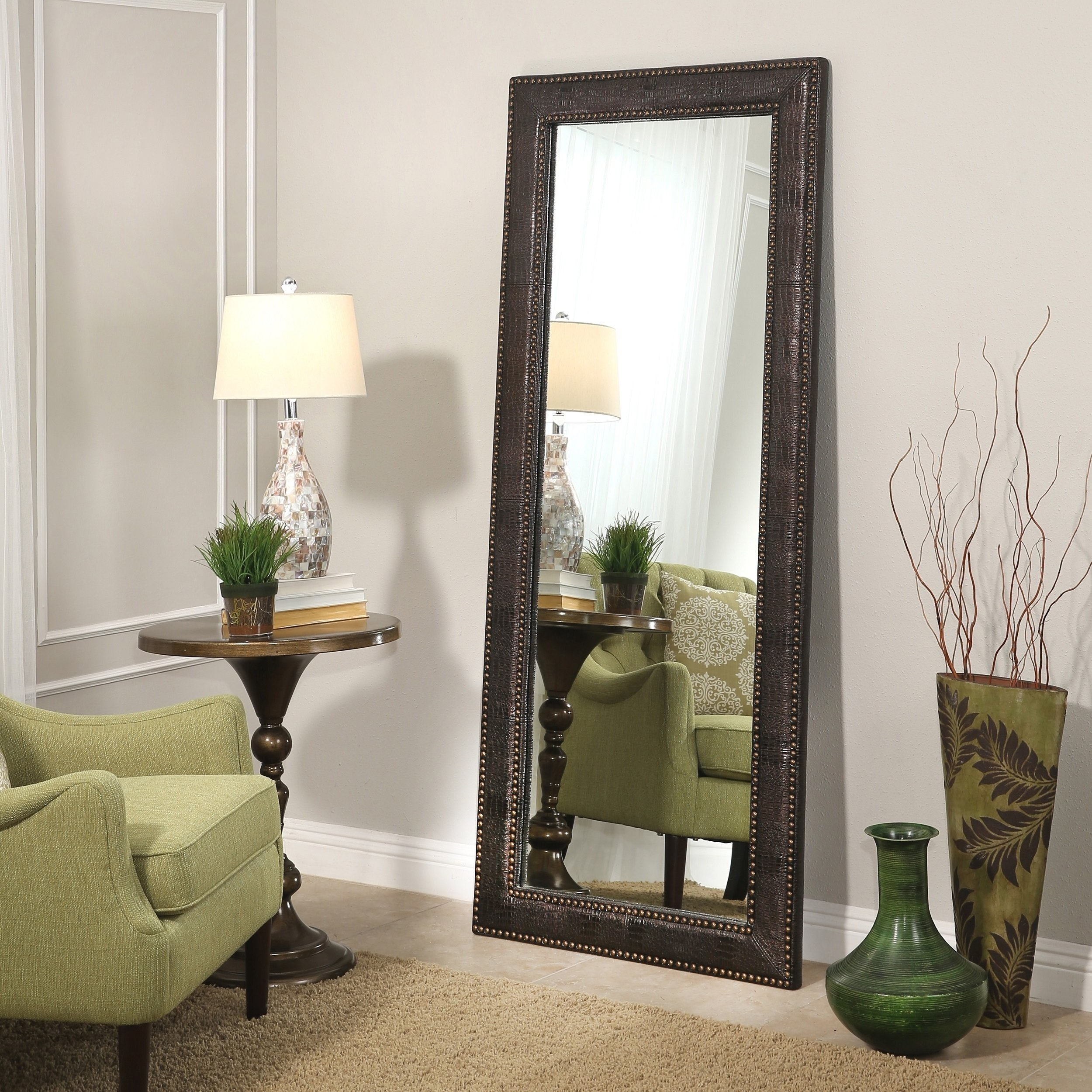 Shop Abbyson Delano Leather 70-Inch Floor Mirror - On Sale - Free with Delano Smoke 3 Piece Sectionals (Image 26 of 30)