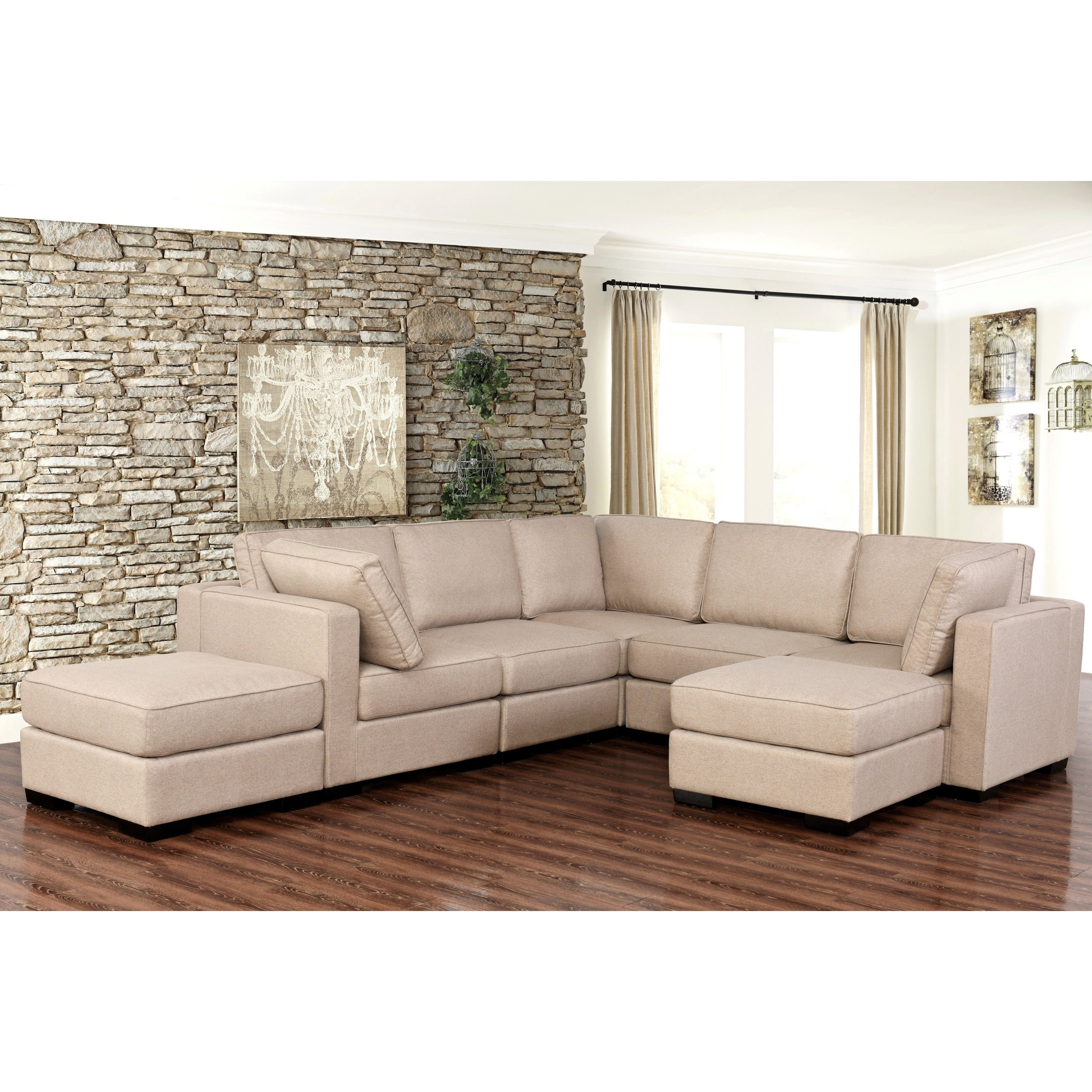 Shop Abbyson Harper Fabric Modular 7-Piece Sectional - Free Shipping inside Harper Down 3 Piece Sectionals (Image 26 of 30)