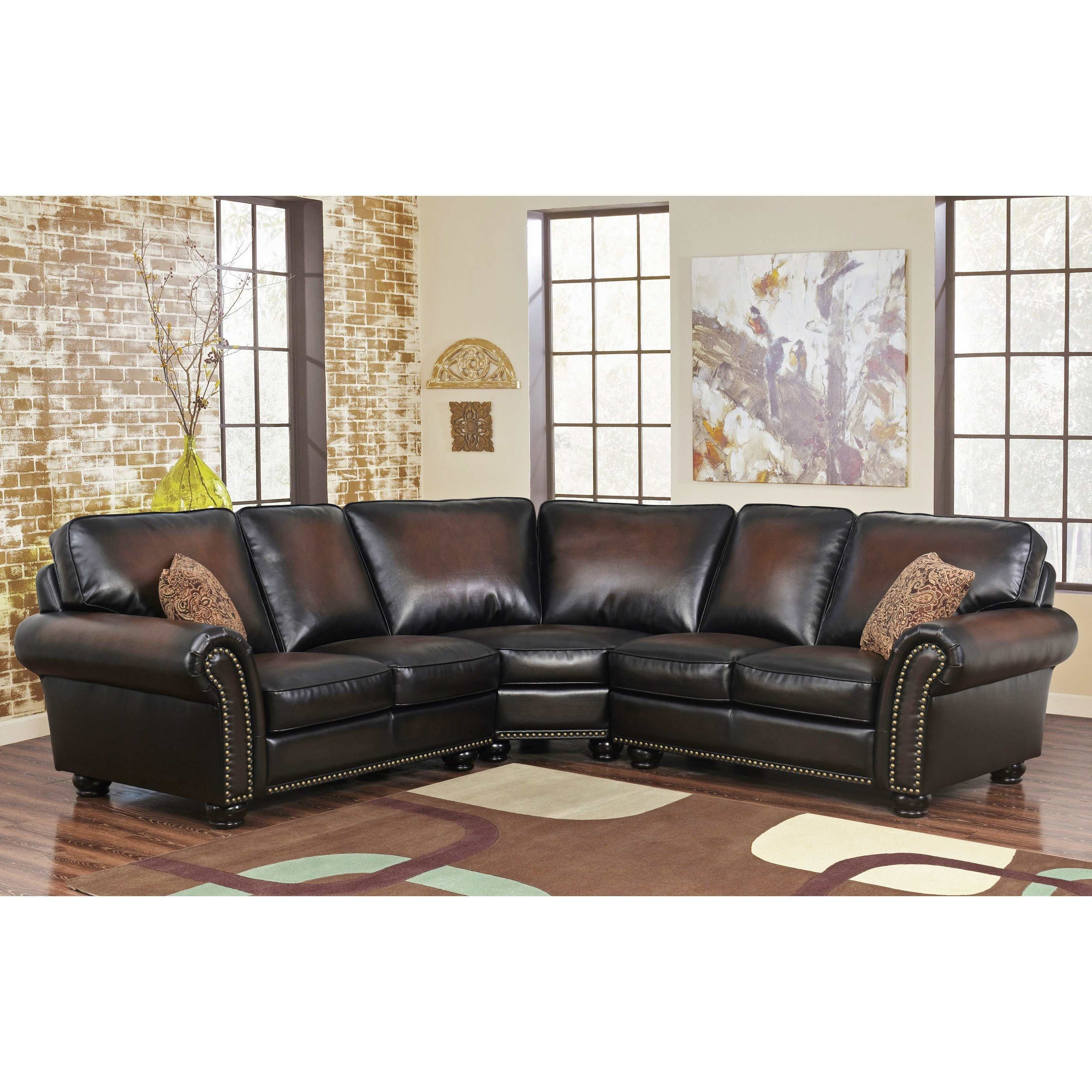 Shop Abbyson Melrose Bonded Leather 3-Piece Sectional - Free with regard to Haven Blue Steel 3 Piece Sectionals (Image 25 of 30)