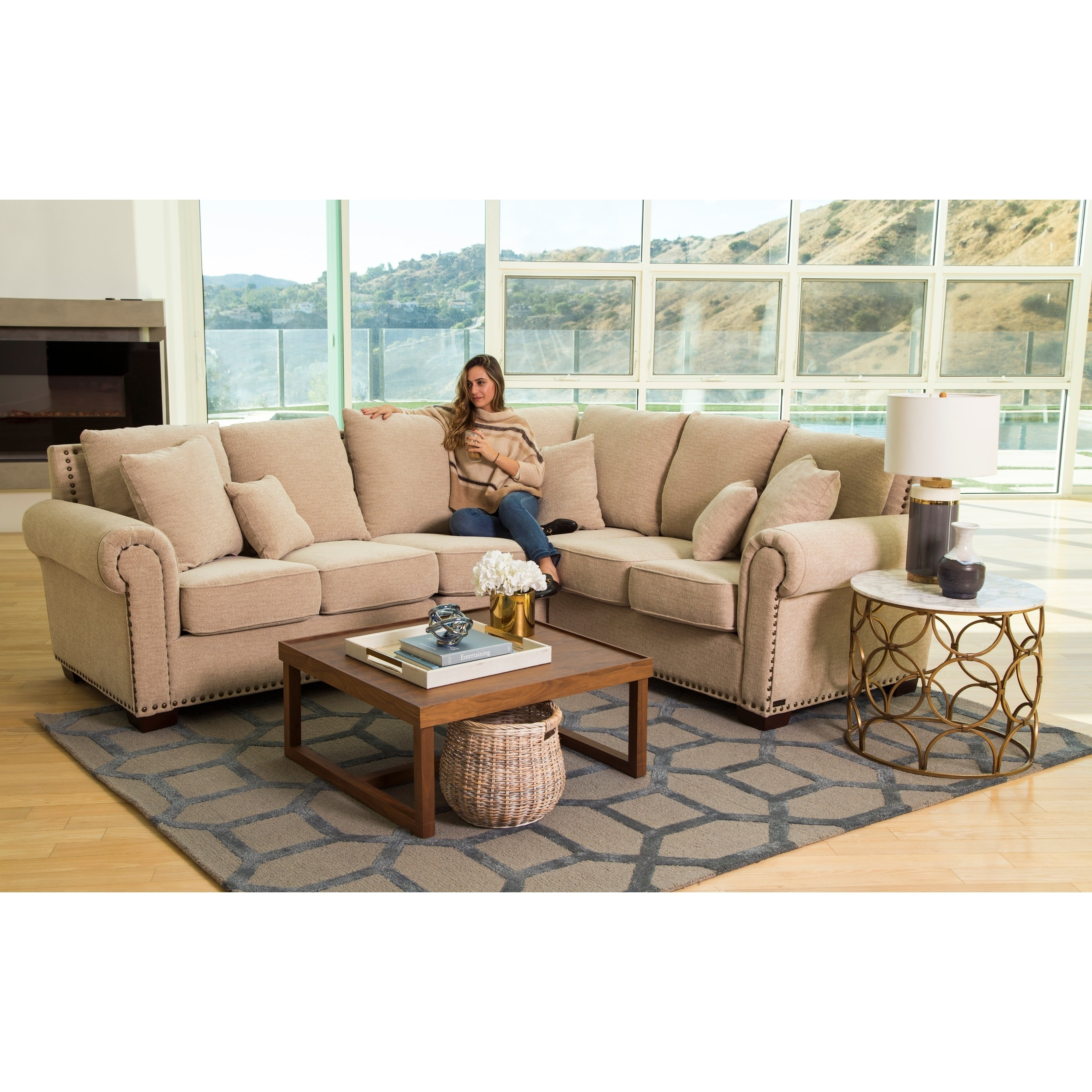 Shop Abbyson Santa Barbara Fabric Sectional - On Sale - Free within Haven Blue Steel 3 Piece Sectionals (Image 26 of 30)