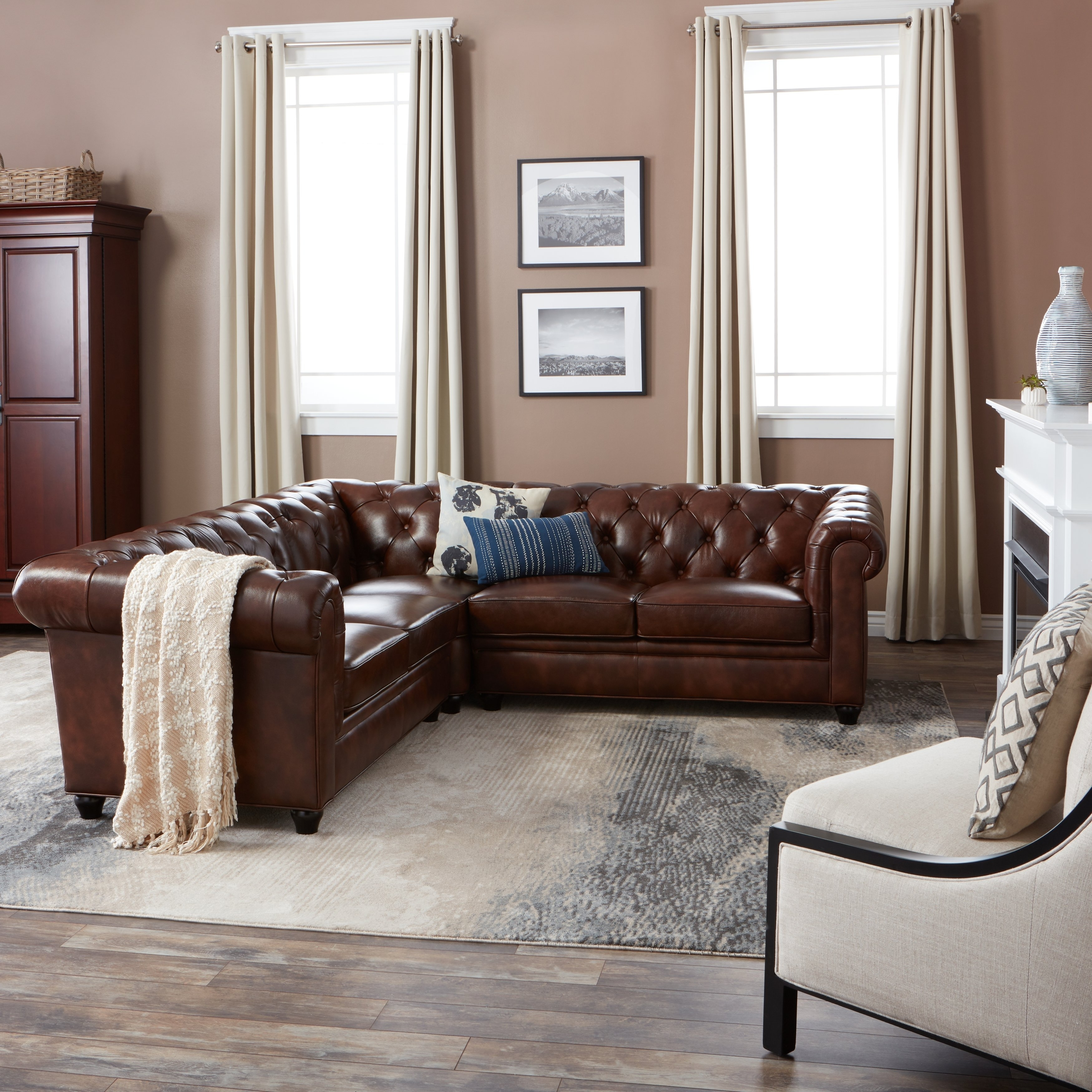 Shop Abbyson Tuscan Tufted Top Grain Leather 3-Piece Sectional Sofa with Haven 3 Piece Sectionals (Image 27 of 32)