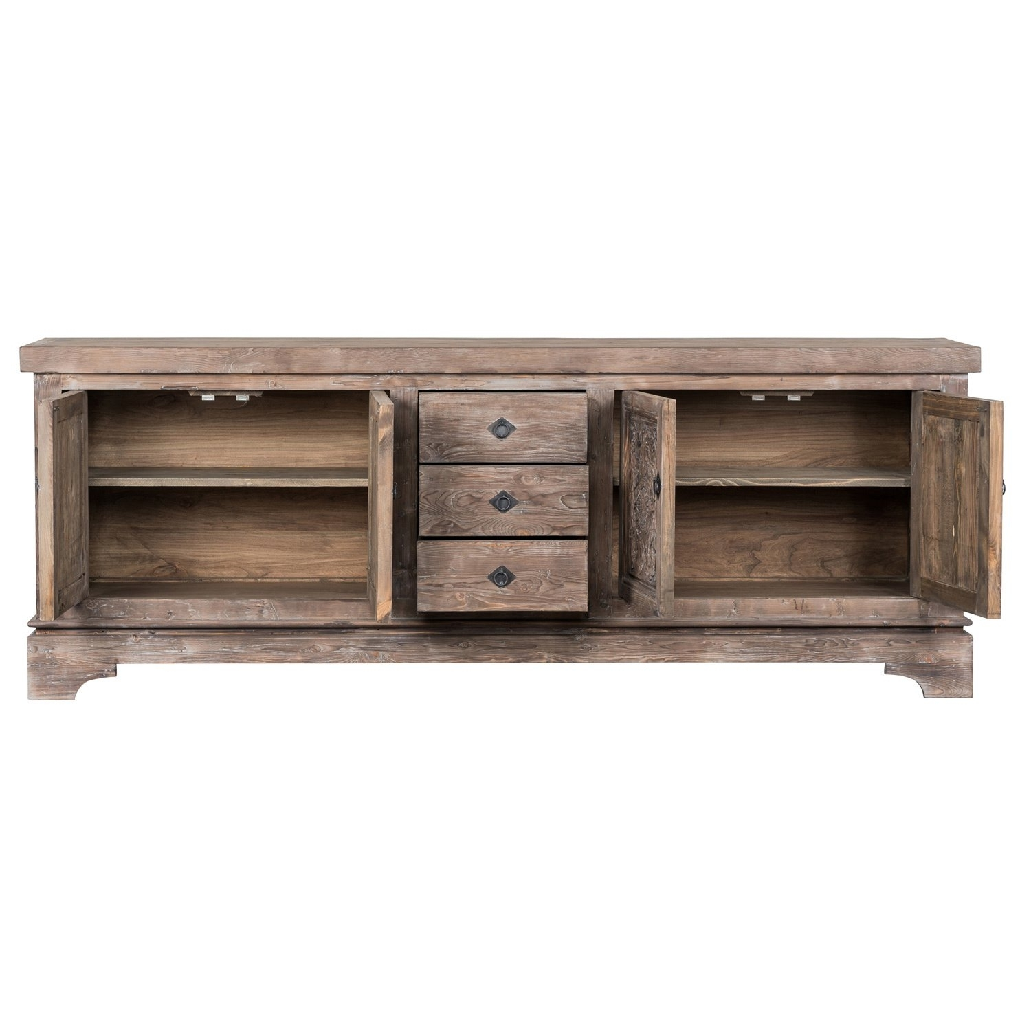 Shop Allen Rustic Taupe Reclaimed Pine 106-Inch Sideboardkosas in Reclaimed Pine & Iron 4-Door Sideboards (Image 19 of 30)