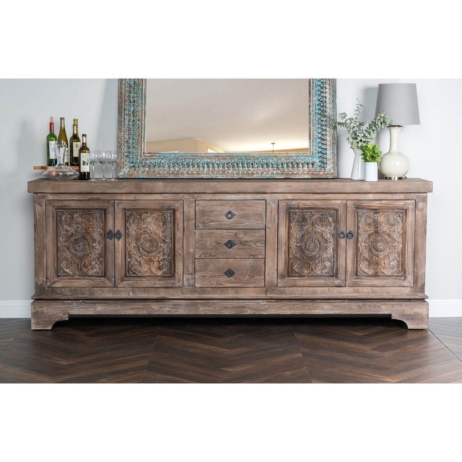 Shop Allen Rustic Taupe Reclaimed Pine 106-Inch Sideboardkosas within Iron Pine Sideboards (Image 22 of 30)