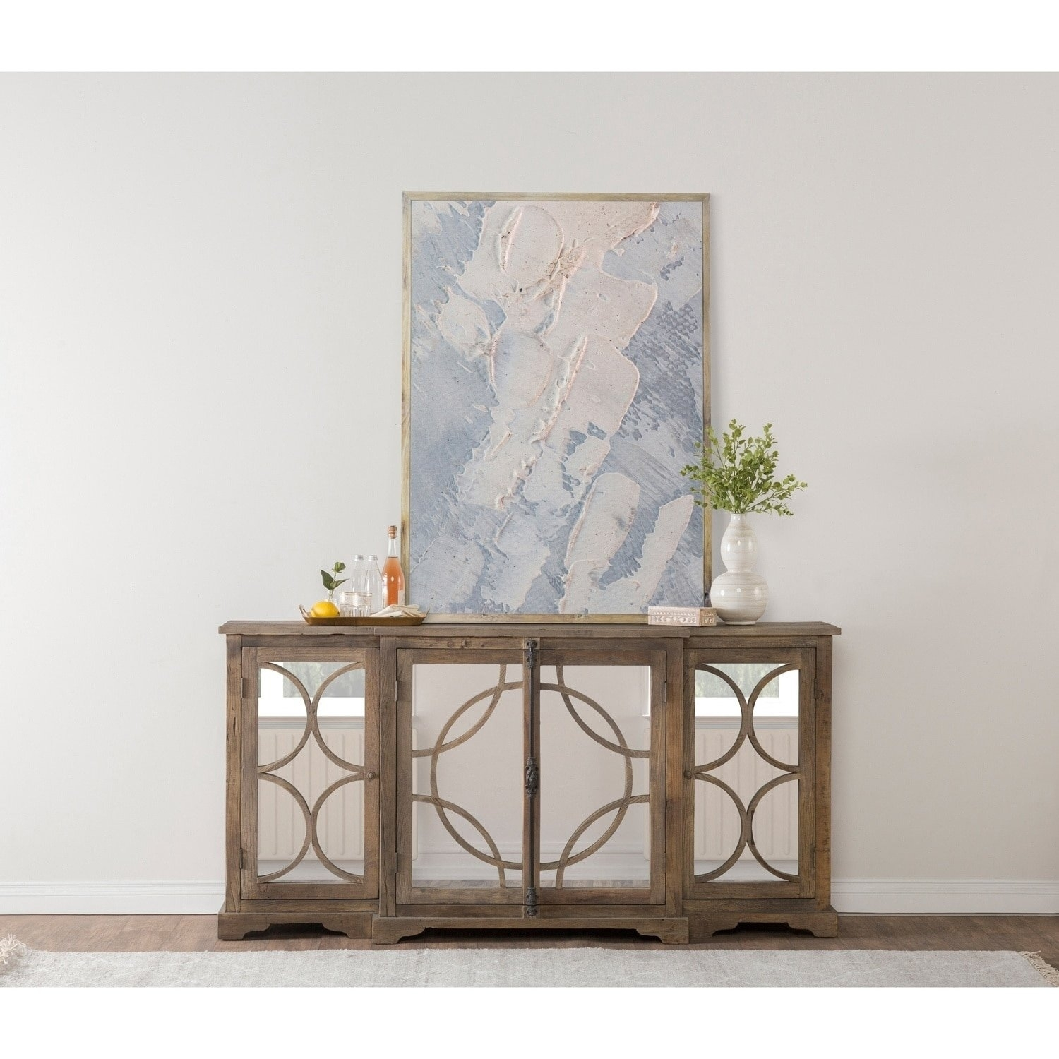 Shop Amri Reclaimed Wood Mirrored 79-Inch Sideboardkosas Home for 2-Door Mirror Front Sideboards (Image 23 of 30)