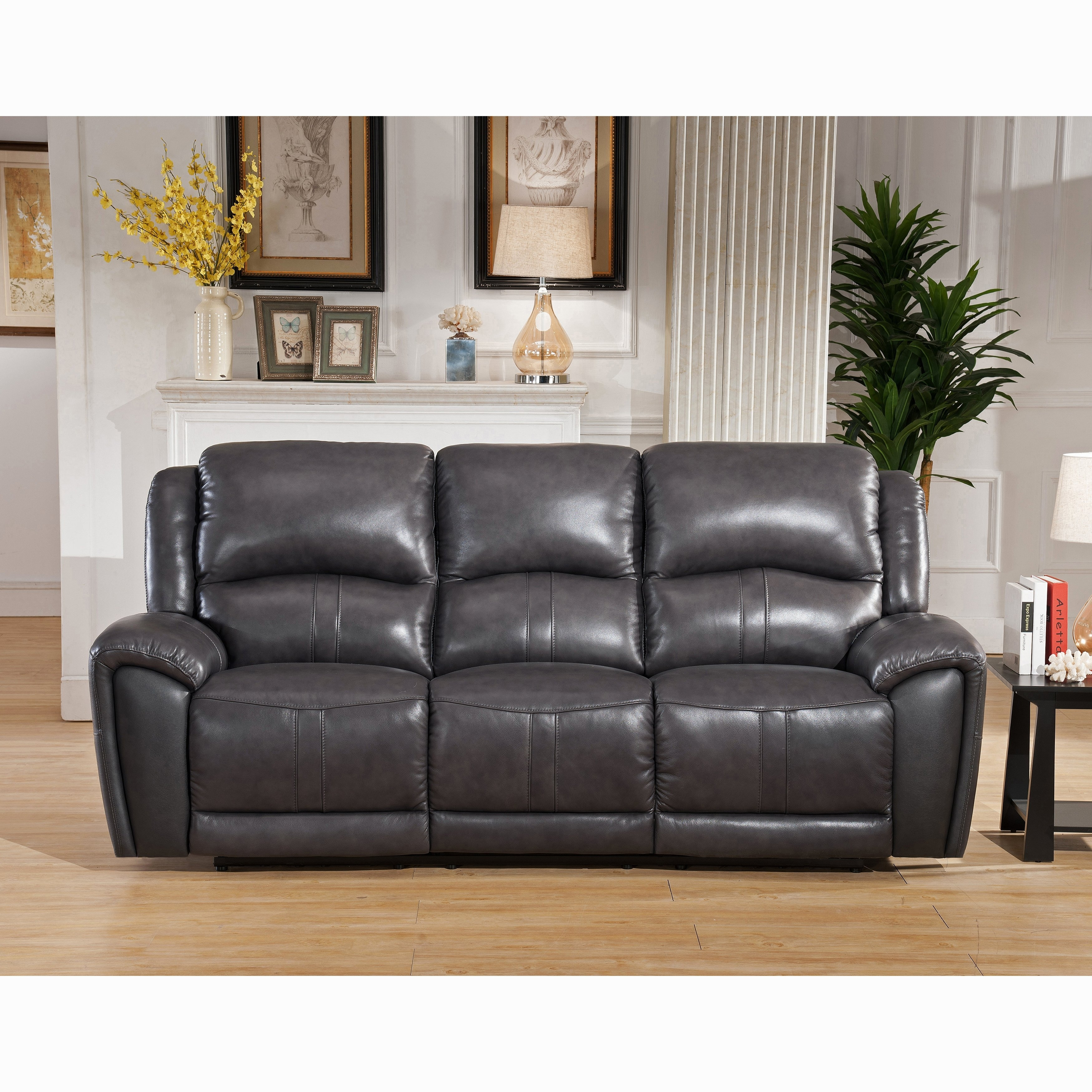 Shop Ari Grey Top Grain Leather Power Reclining Sofa With Power throughout Marcus Grey 6 Piece Sectionals With  Power Headrest & Usb (Image 25 of 30)