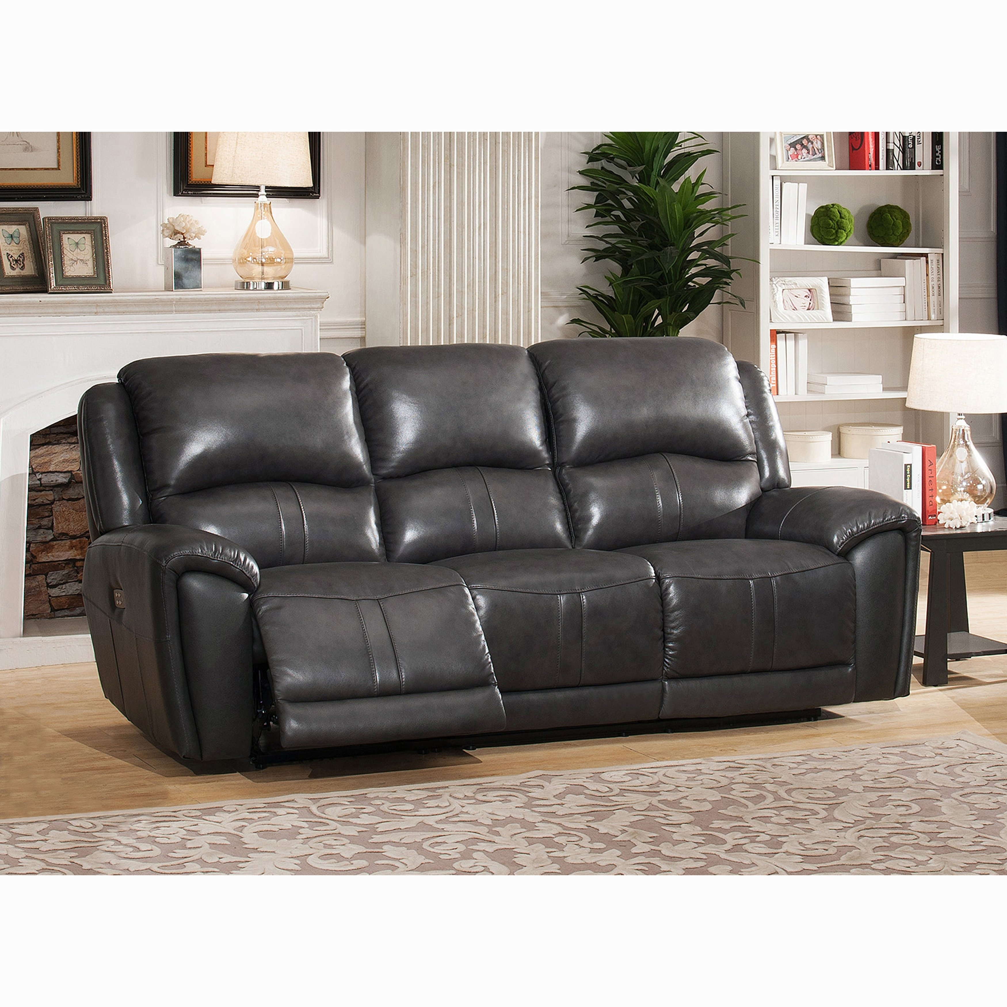 Shop Ari Grey Top Grain Leather Power Reclining Sofa With Power within Marcus Grey 6 Piece Sectionals With  Power Headrest & Usb (Image 26 of 30)