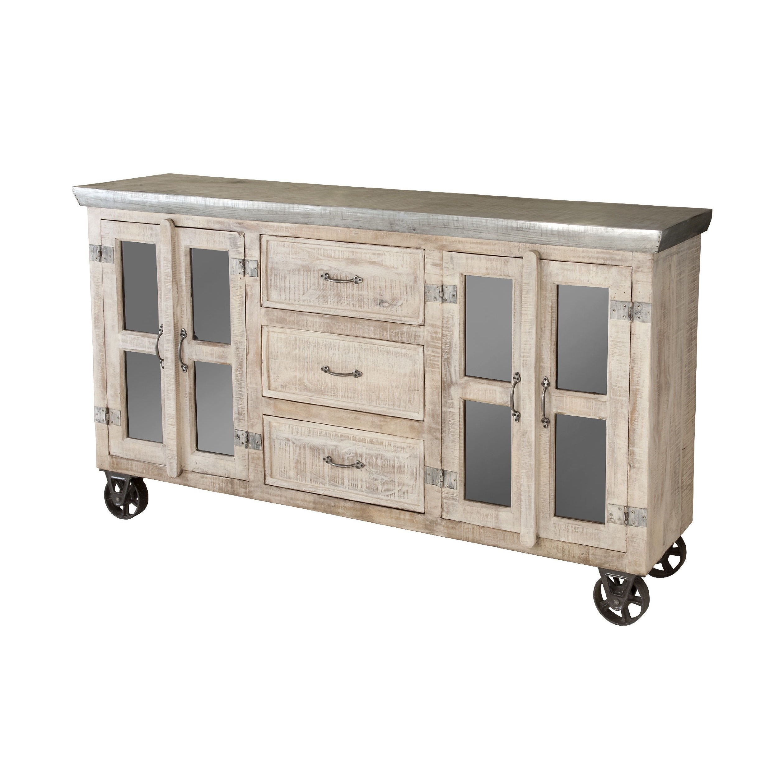 Shop Bertram Sideboard - Free Shipping Today - Overstock - 9121554 with White Wash 4-Door Galvanized Sideboards (Image 21 of 30)