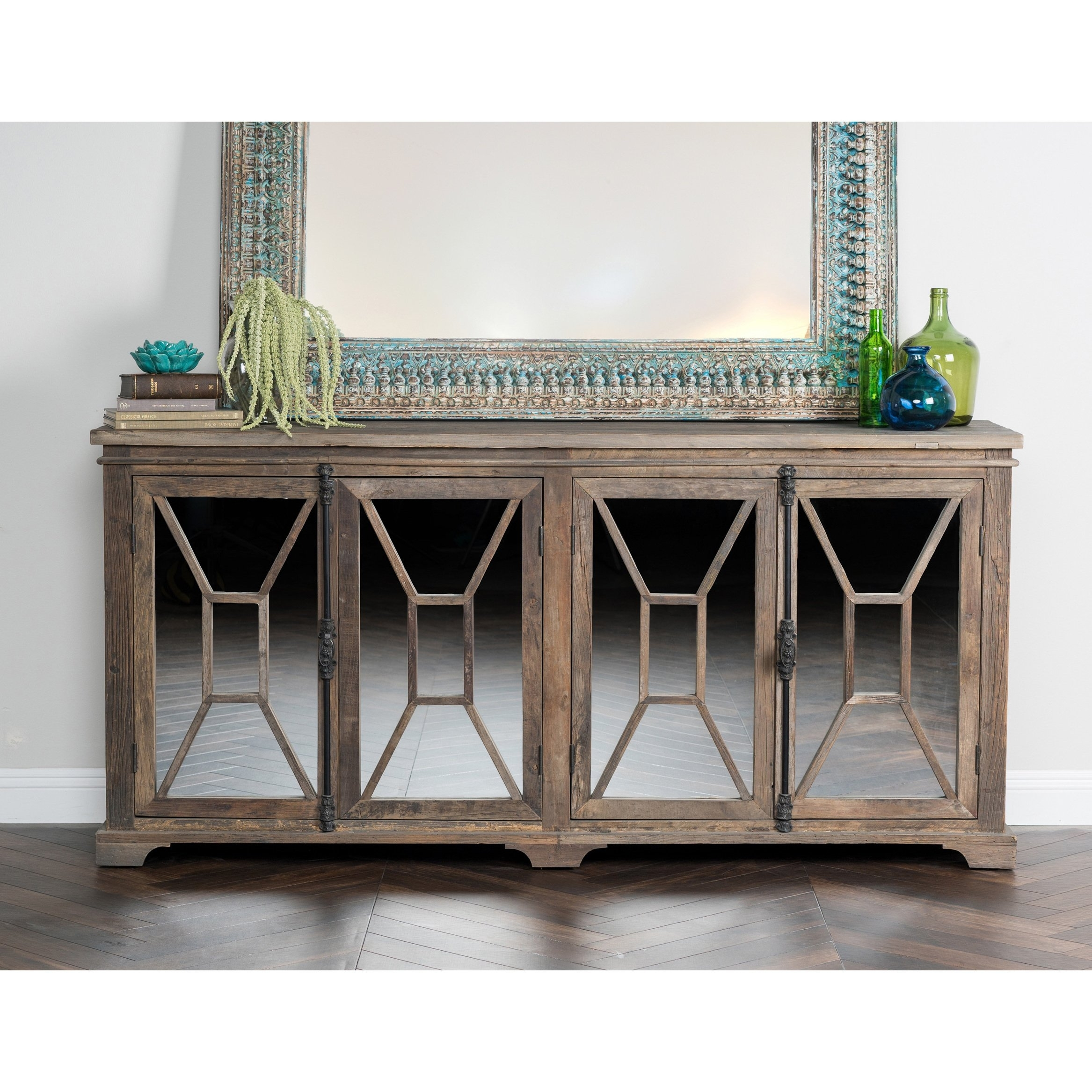Shop Bradley Reclaimed Wood Mirrored 78-Inch Sideboardkosas Home throughout Reclaimed Pine Turquoise 4-Door Sideboards (Image 21 of 30)
