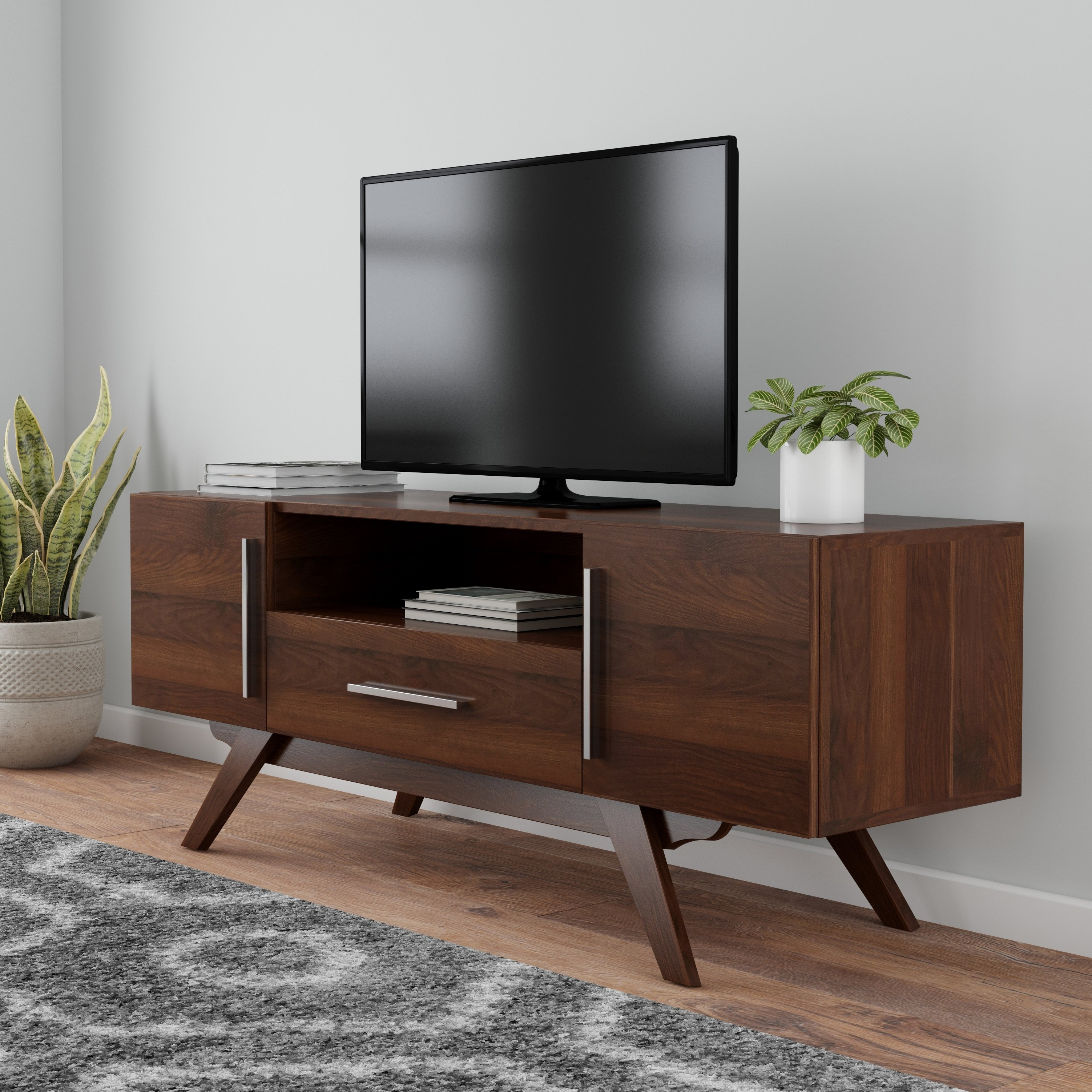 Shop Carson Carrington Arendal Mid Century Tv Stand – Free Shipping Intended For Mid Burnt Oak 71 Inch Sideboards (View 16 of 30)