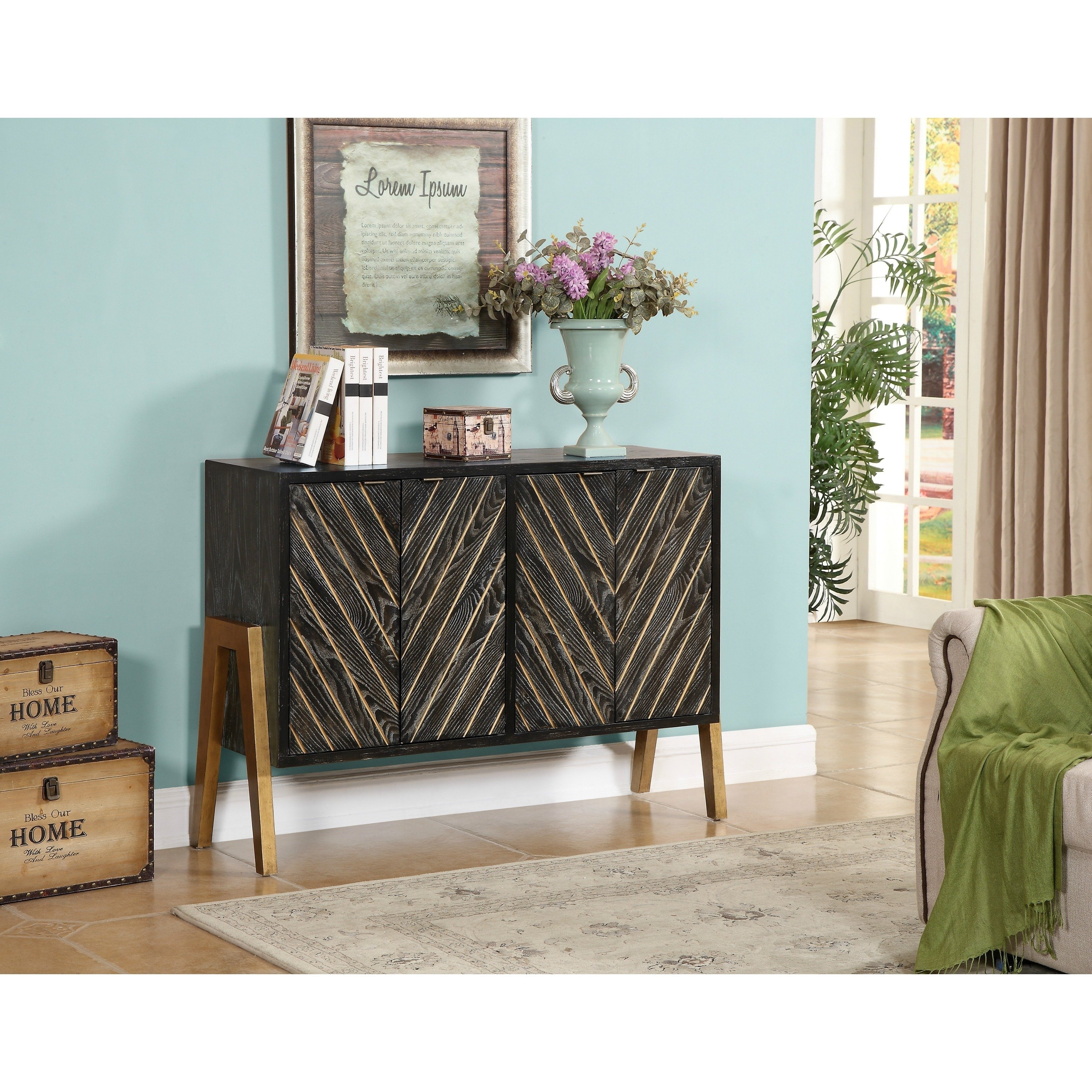 Shop Christopher Knight Home Black And Gold 4-Door Sideboard - Free for Blue Stone Light Rustic Black Sideboards (Image 24 of 30)