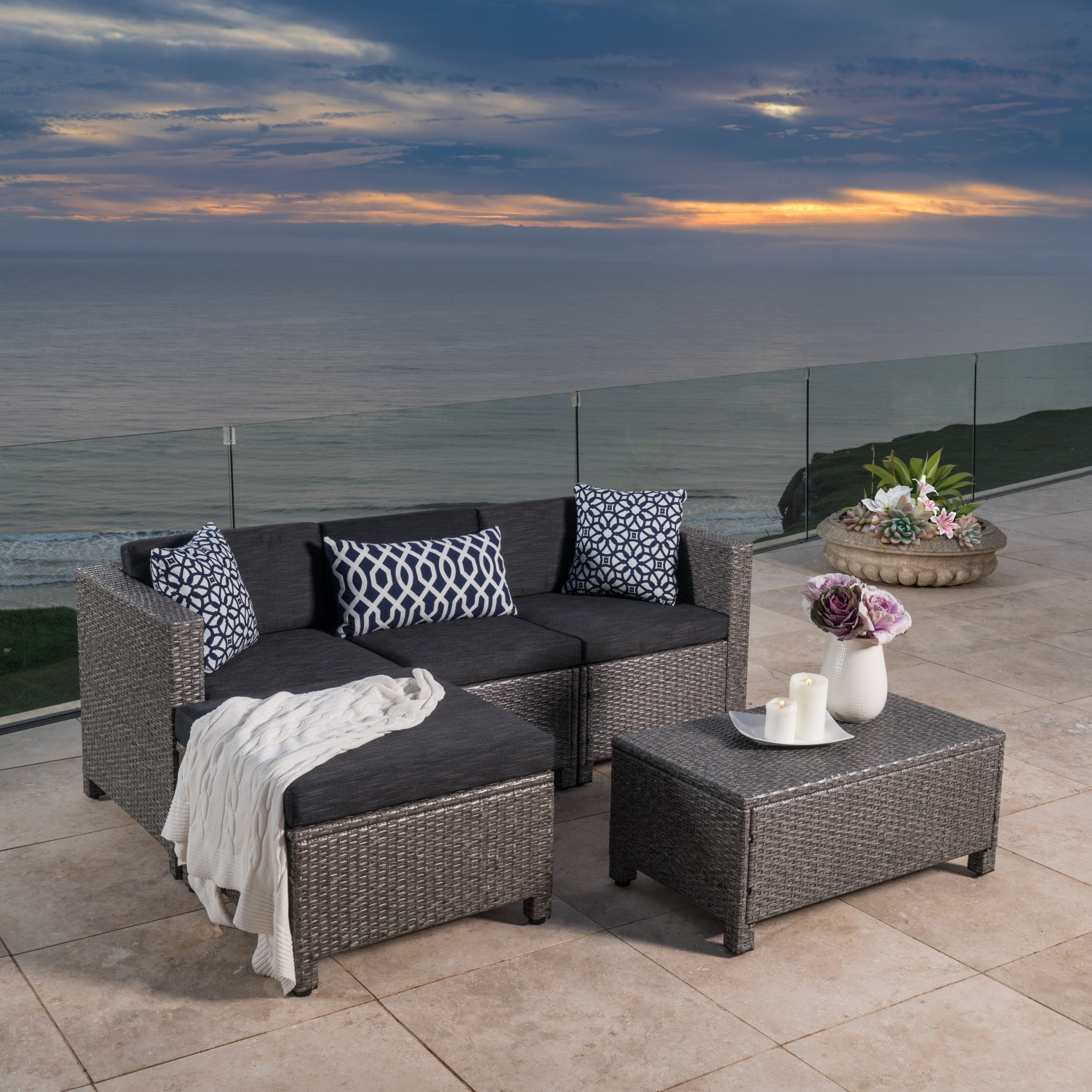 Shop Christopher Knight Home Outdoor Puerta 5-Piece Wicker Sectional within Norfolk Grey 6 Piece Sectionals (Image 26 of 30)