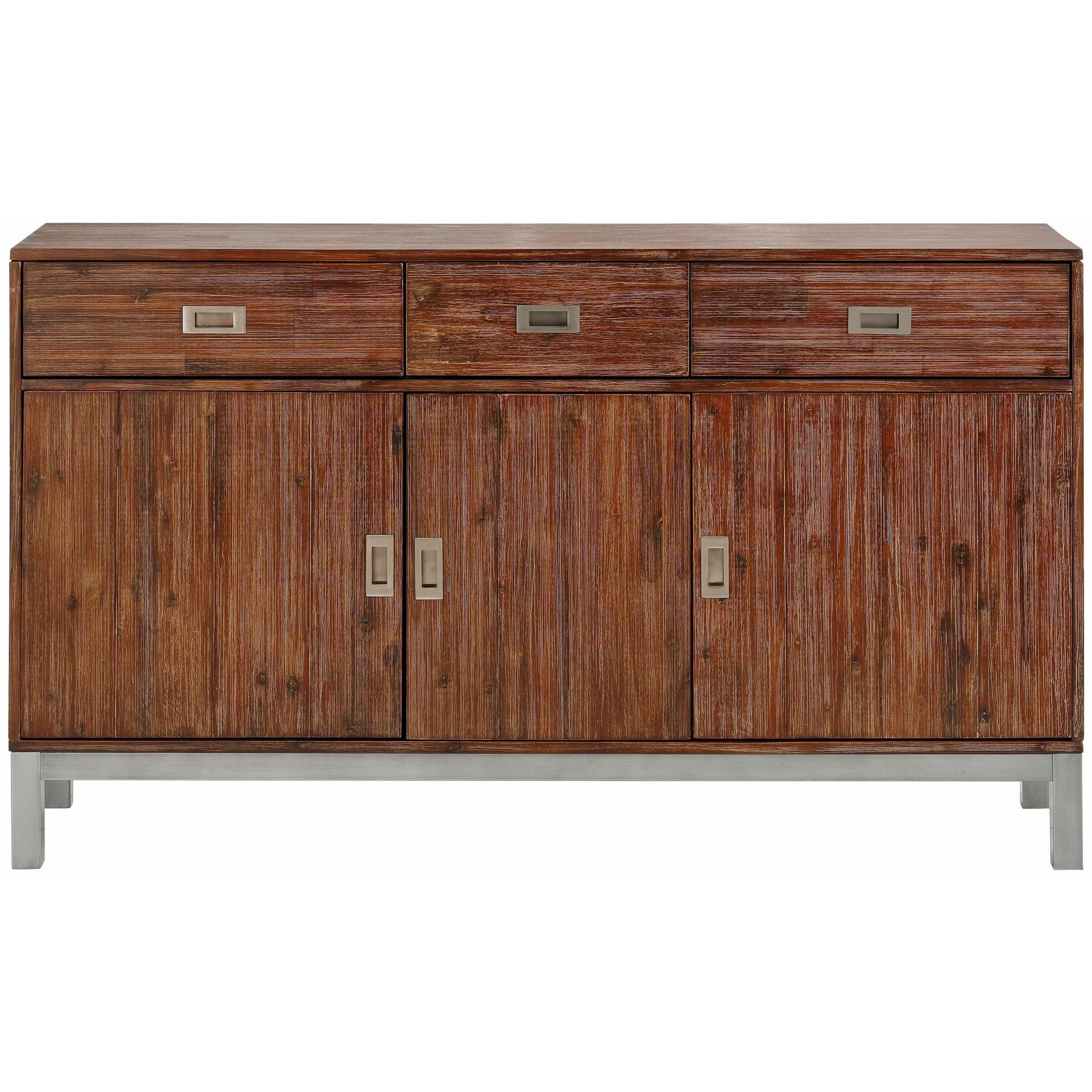 Shop Congo Acacia Wood And Metal Sideboard With 3 Doors And 3 throughout Acacia Wood 4-Door Sideboards (Image 20 of 30)