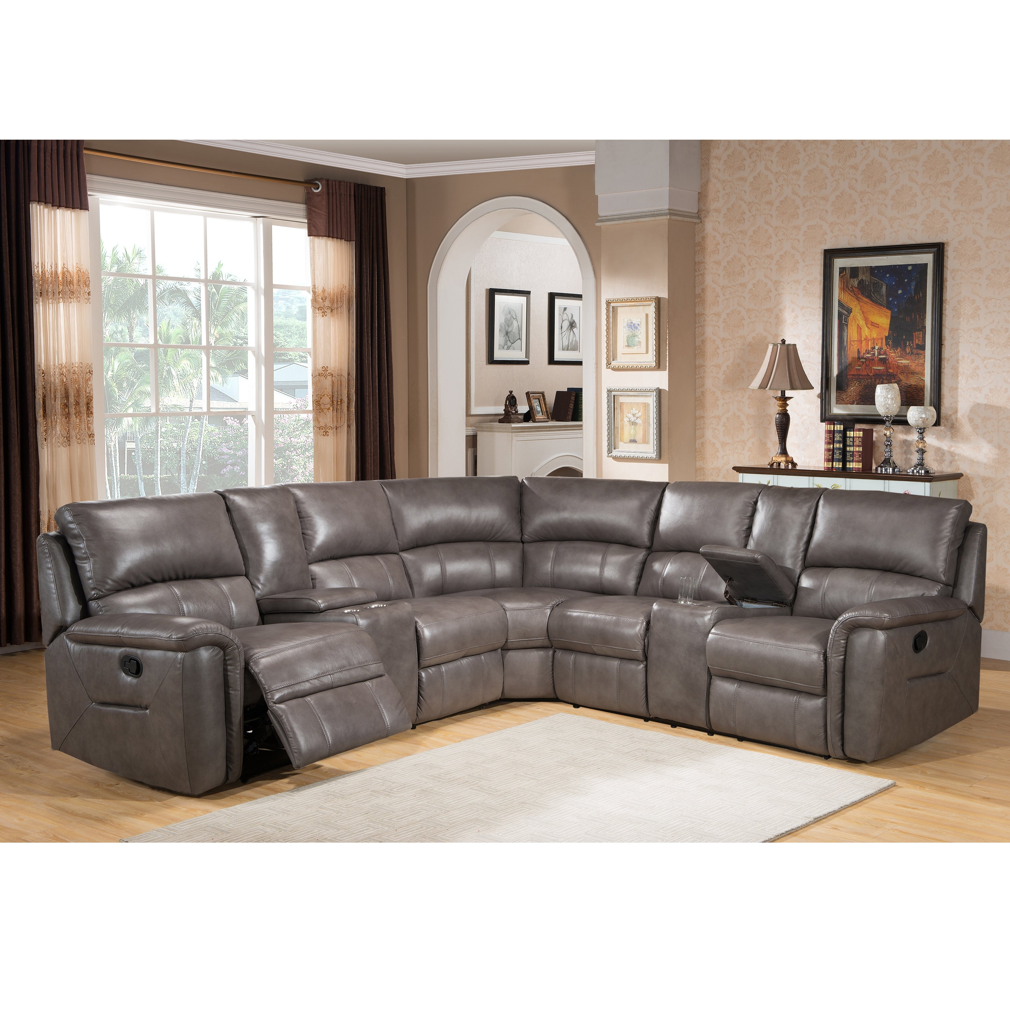Shop Cortez Premium Top Grain Gray Leather Reclining Sectional Sofa intended for Harper Foam 3 Piece Sectionals With Raf Chaise (Image 24 of 30)