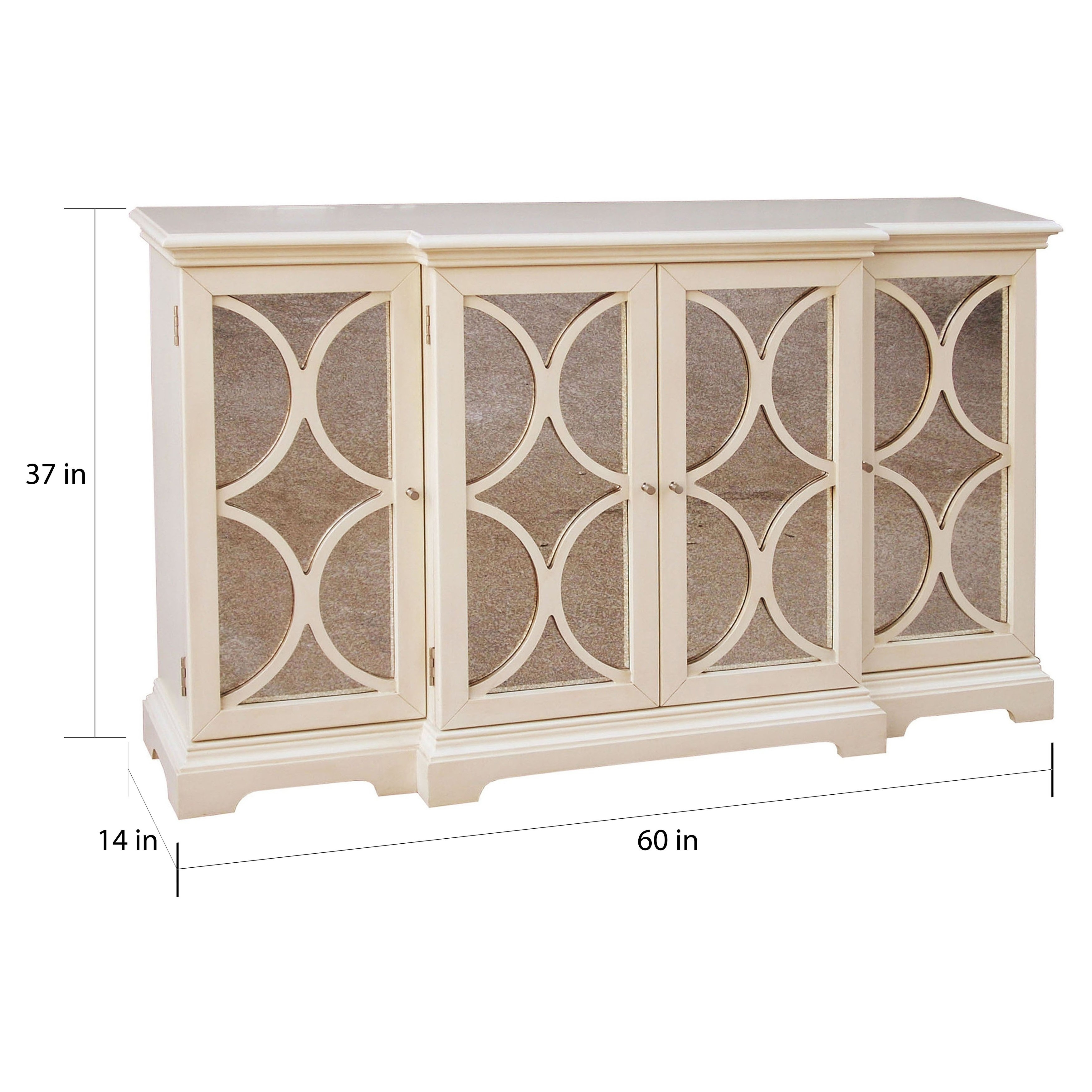 Shop Cream Finish Antiqued Mirror Accent Chest/ Credenza - Multi in Aged Mirrored 4 Door Sideboards (Image 25 of 30)