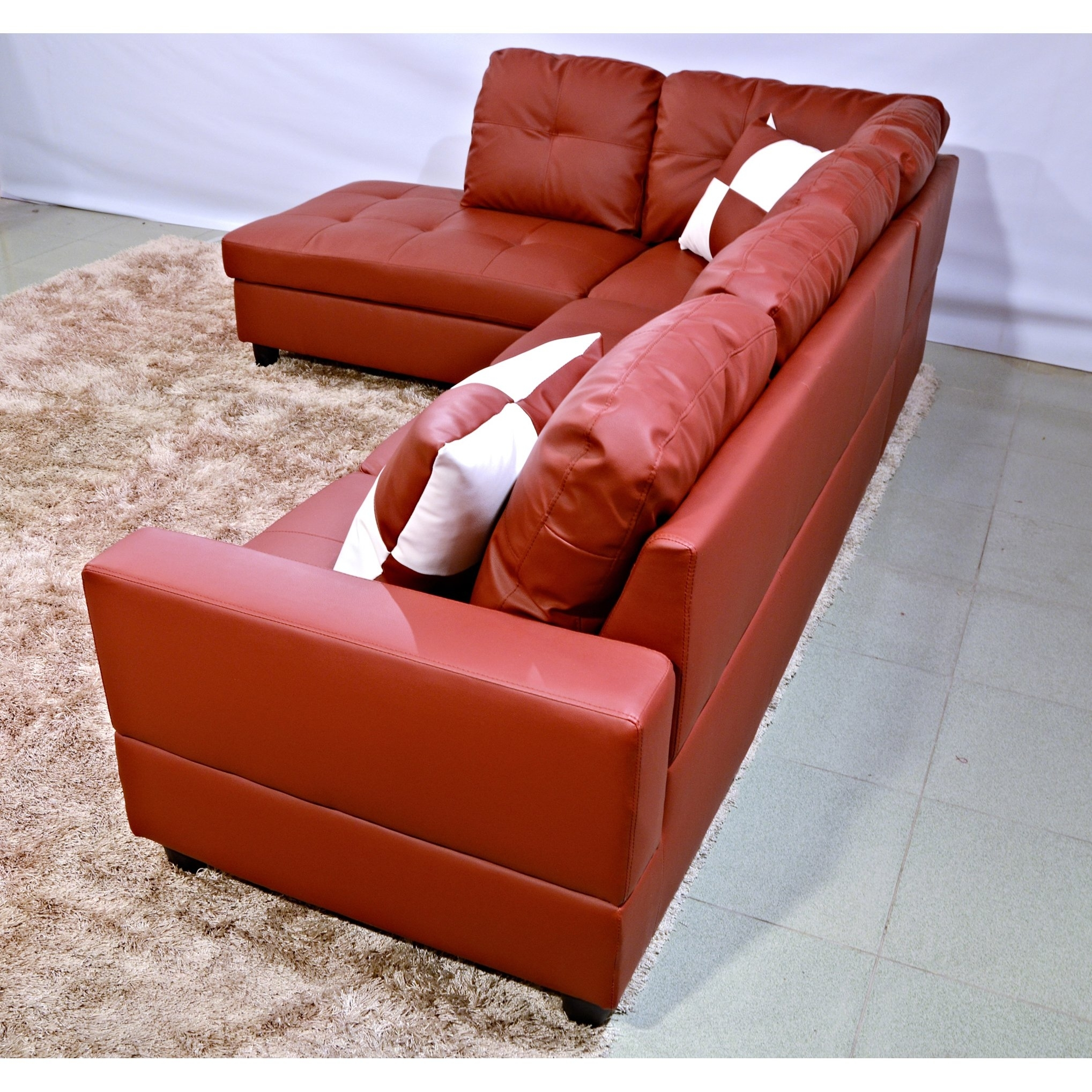Shop Delma 3-Piece Red Faux Leather Furniture Set - Free Shipping pertaining to Tenny Dark Grey 2 Piece Right Facing Chaise Sectionals With 2 Headrest (Image 25 of 30)