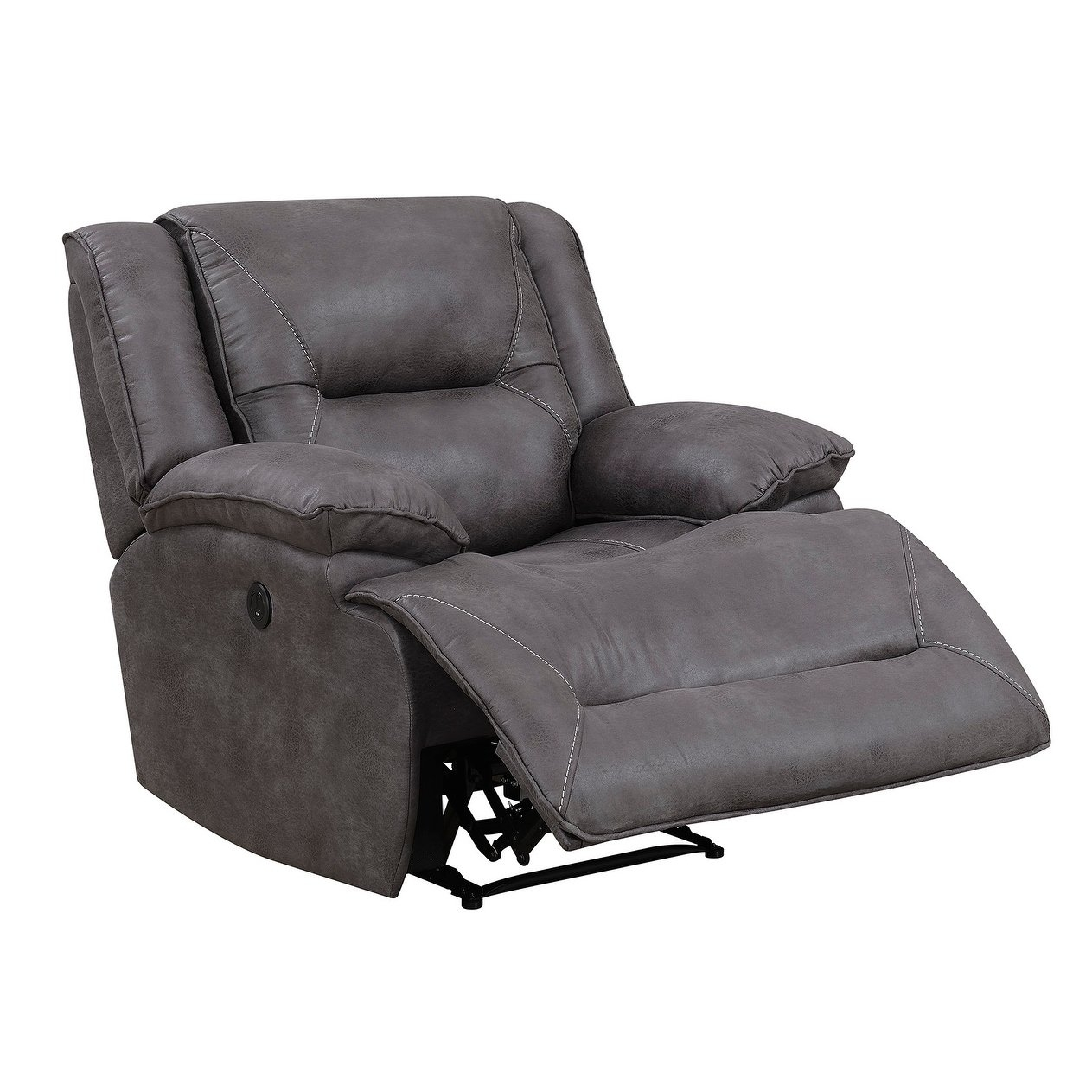 Shop Dylan Power Recliner With Memory Foam Seat Topper And Usb throughout Travis Dk Grey Leather 6 Piece Power Reclining Sectionals With Power Headrest & Usb (Image 23 of 30)