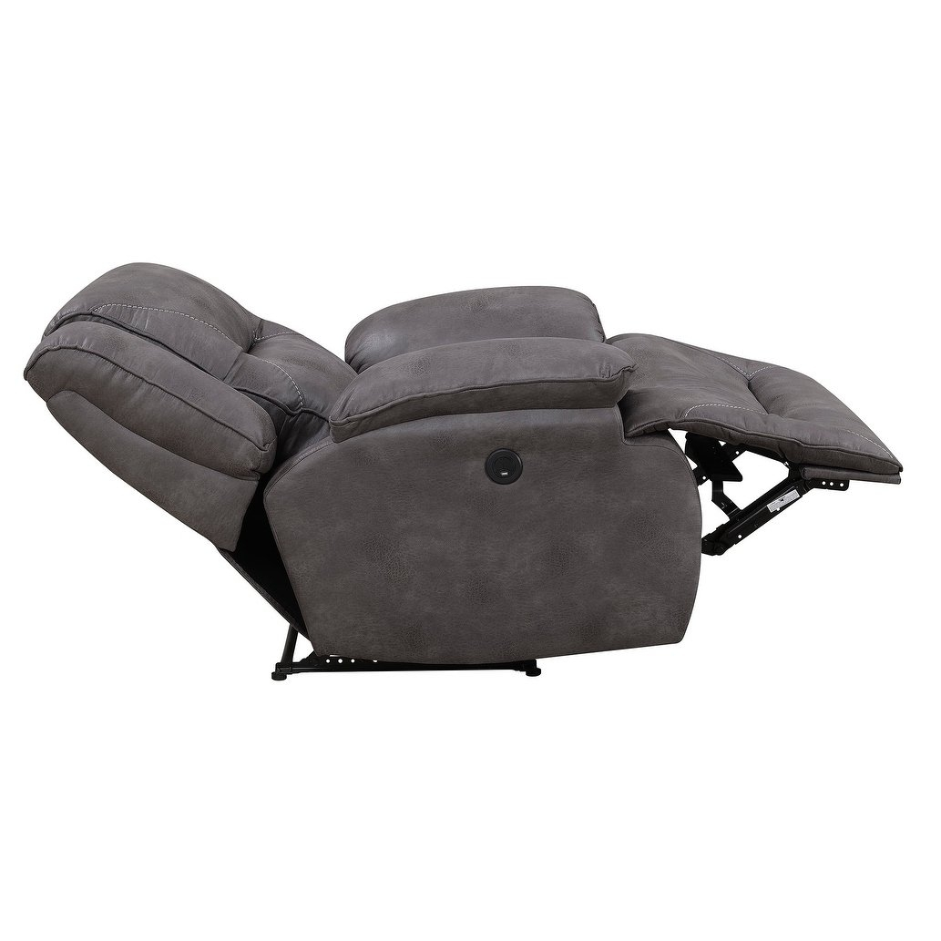 Shop Dylan Power Recliner With Memory Foam Seat Topper And Usb with Travis Dk Grey Leather 6 Piece Power Reclining Sectionals With Power Headrest & Usb (Image 25 of 30)