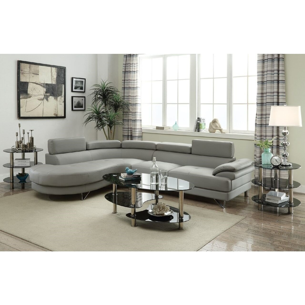 Shop Fanipal Grey Leather 2-Piece Sectional Sofa - Free Shipping regarding Aurora 2 Piece Sectionals (Image 26 of 30)