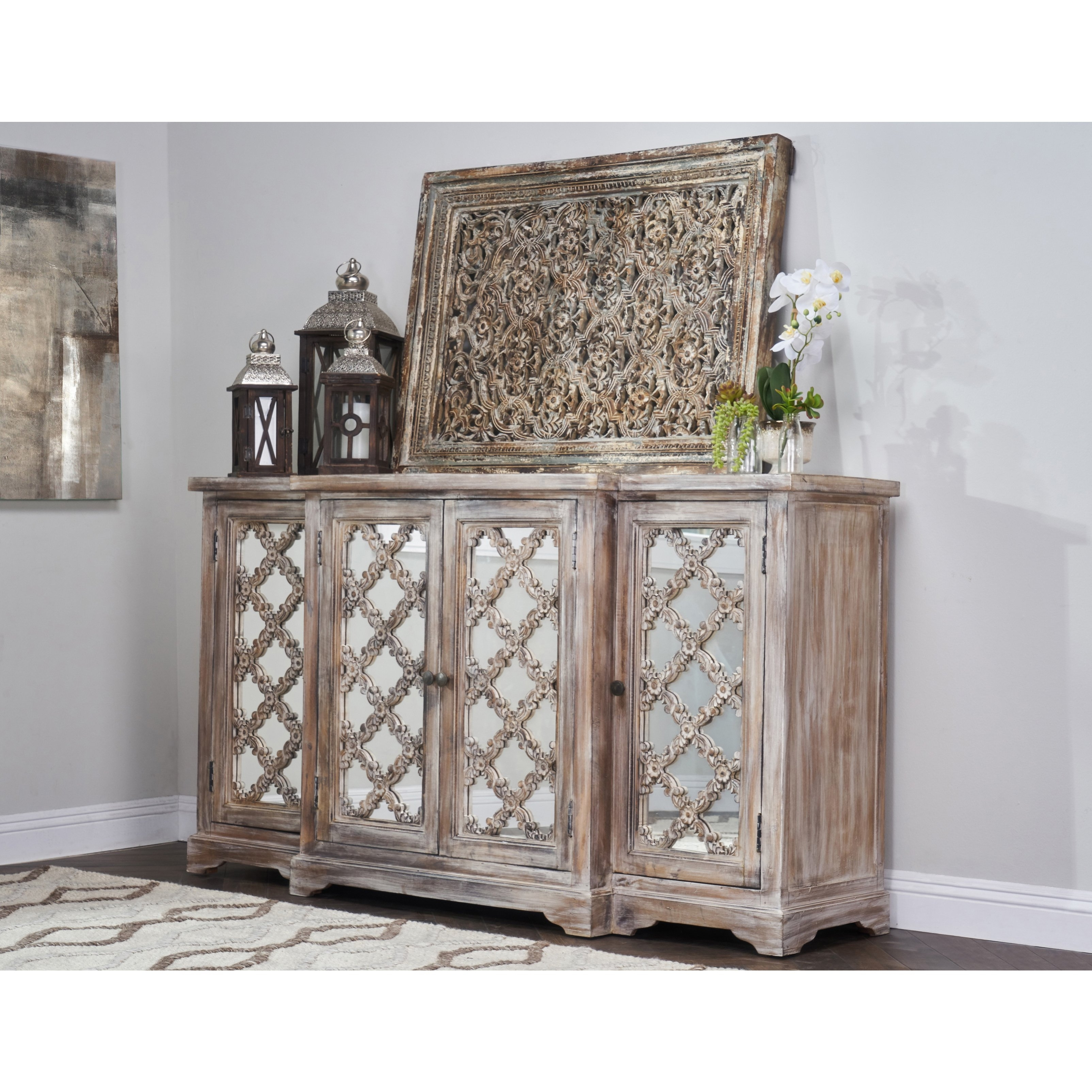 Shop Franklin Rustic Brown Wood Mirrored 71-Inch Sideboardkosas for Aged Mirrored 4 Door Sideboards (Image 26 of 30)