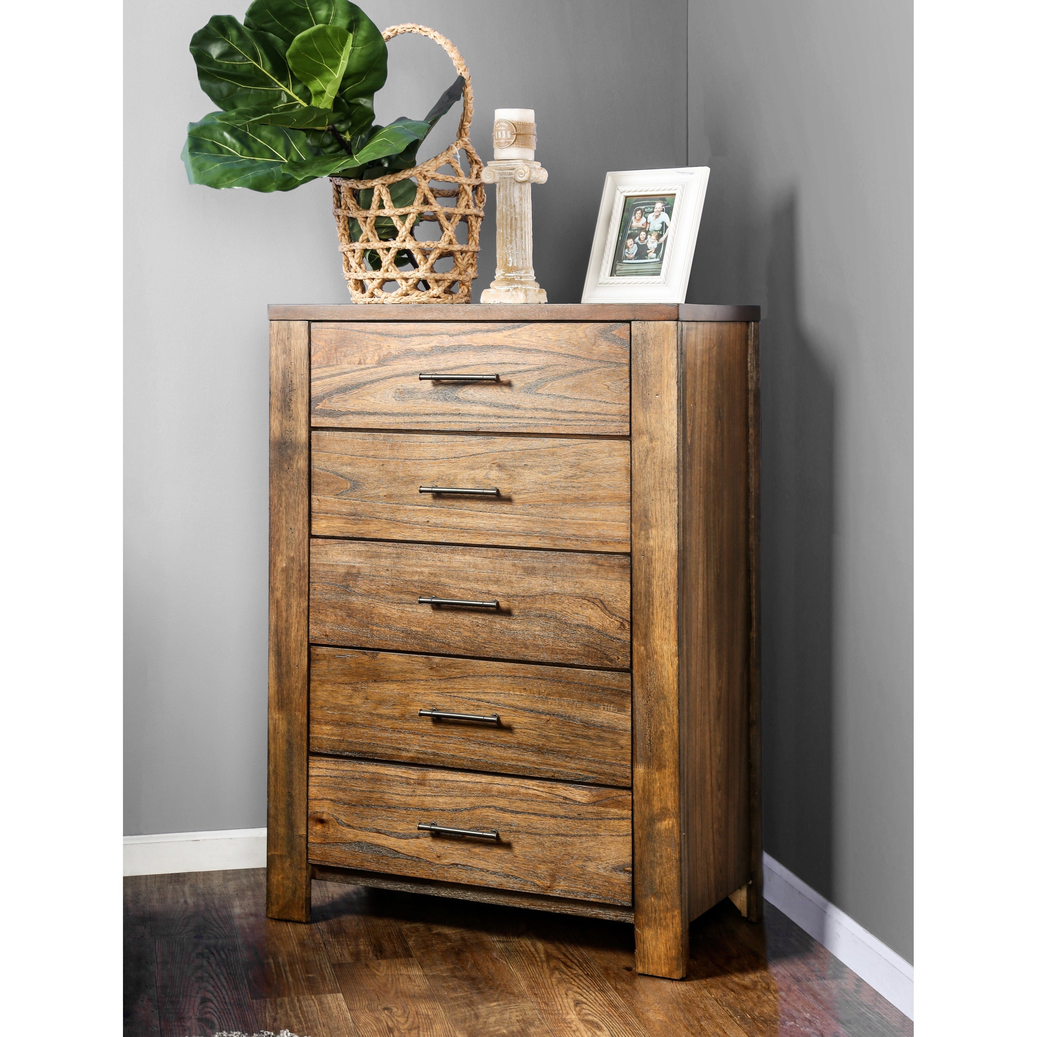 Shop Furniture Of America Casso Rustic Oak 5-Drawer Chest - Free pertaining to Light Brown Reclaimed Elm & Pine 84 Inch Sideboards (Image 22 of 30)