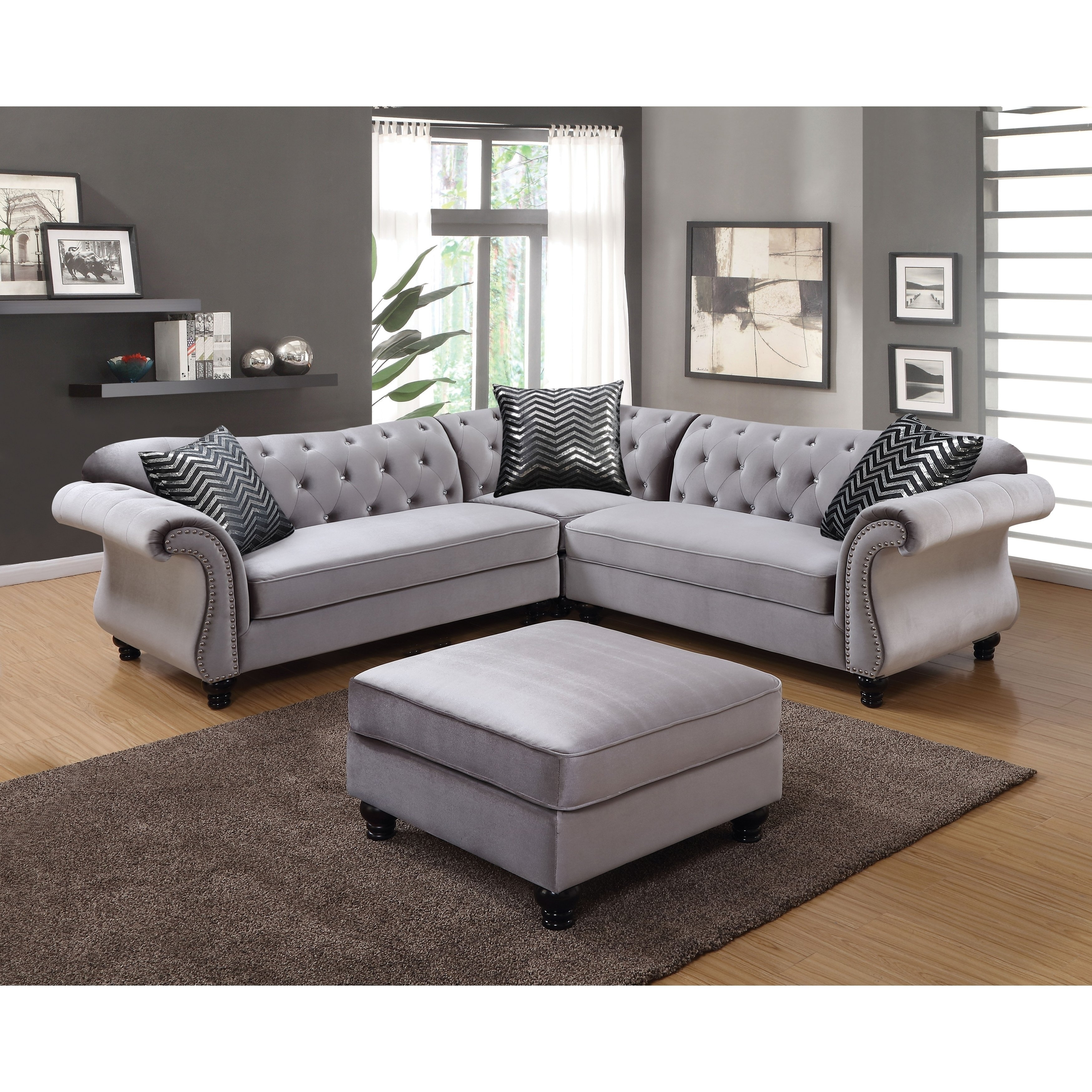 Shop Furniture Of America Dessie Ii Traditional Glam Tufted inside Glamour Ii 3 Piece Sectionals (Image 25 of 30)