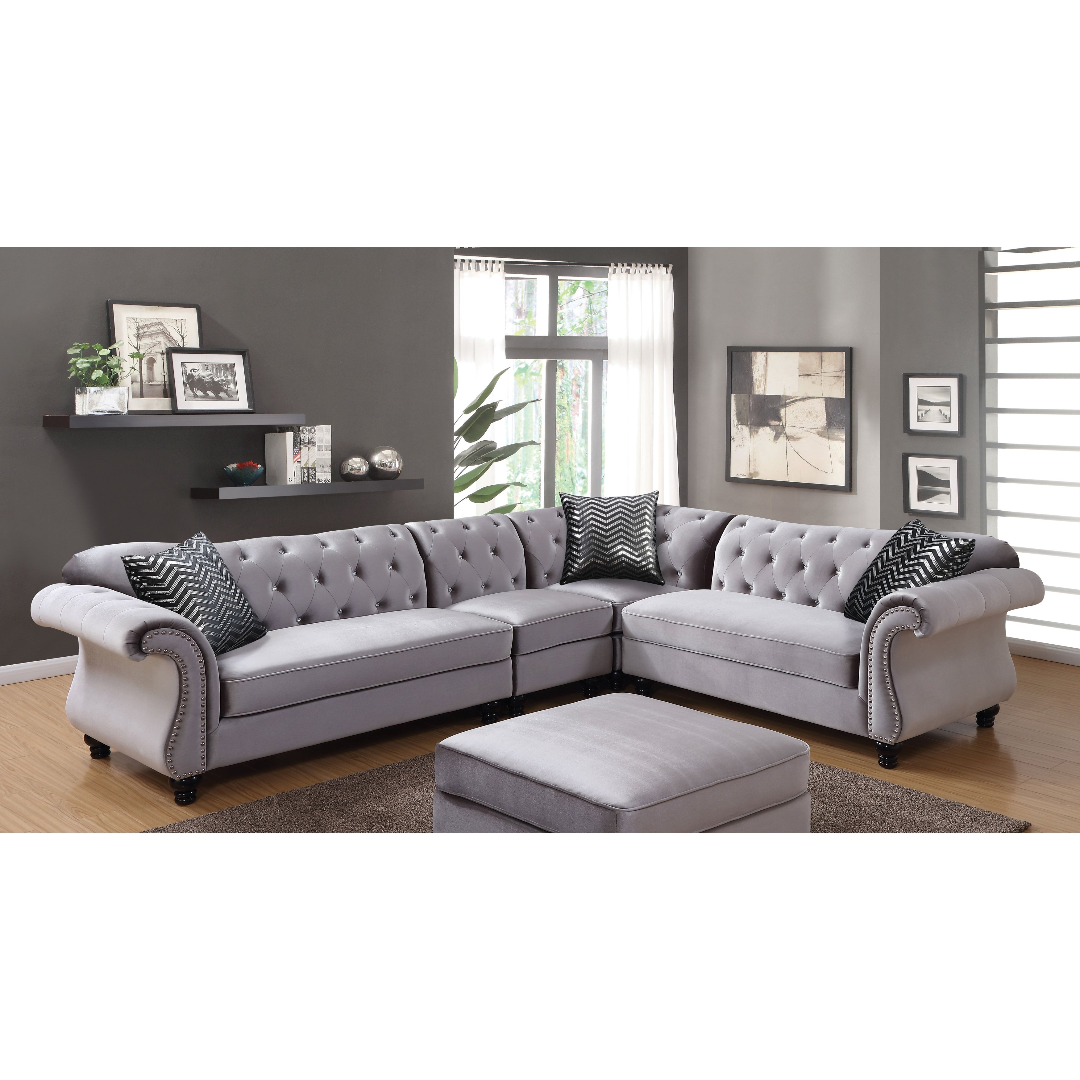 Shop Furniture Of America Dessie Iii Traditional Glam Tufted regarding Glamour Ii 3 Piece Sectionals (Image 26 of 30)